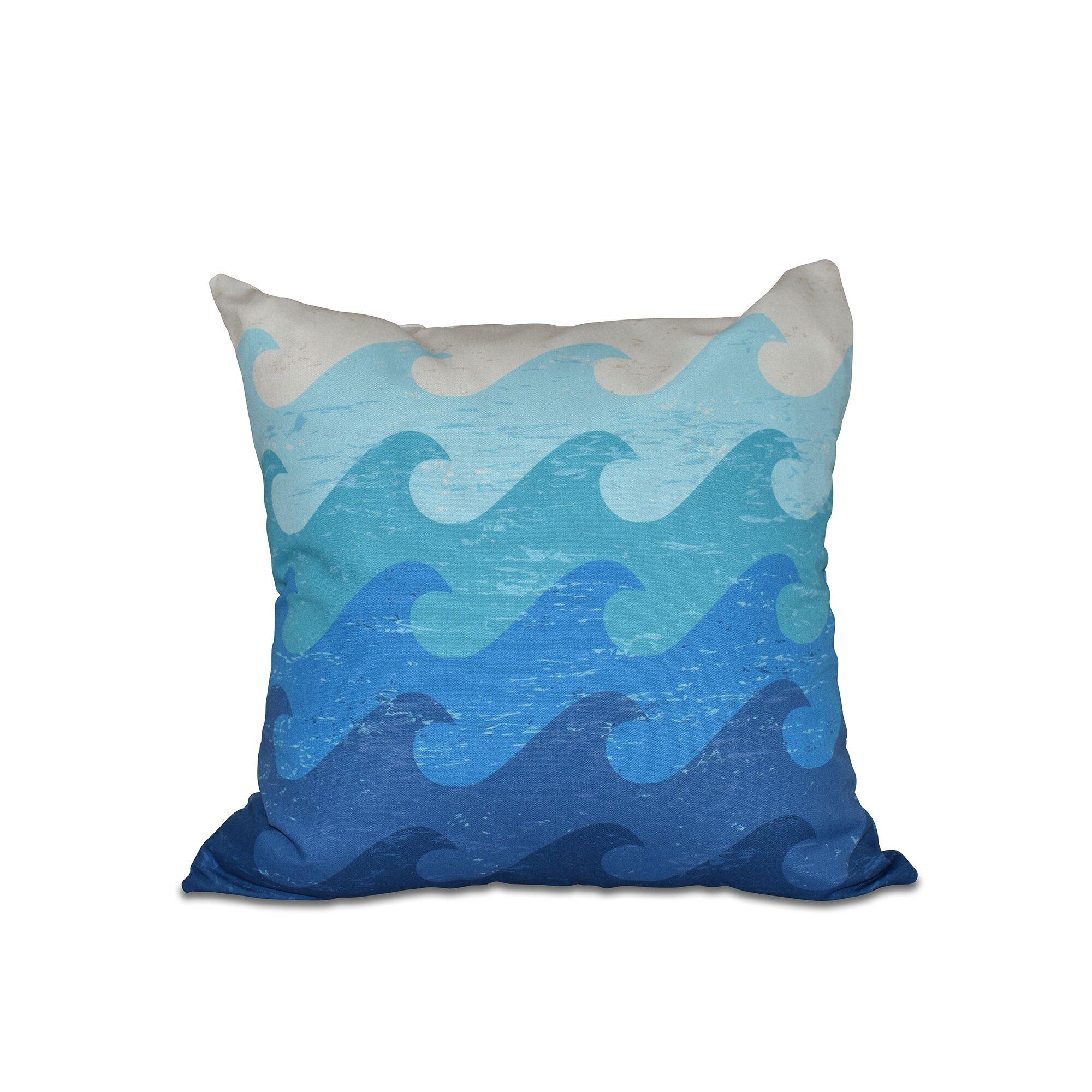 Outdoor Beach Throw Pillows : Bay Isle Home Golden Beach Deep Sea Geometric Outdoor Throw Pillow & Reviews Wayfair