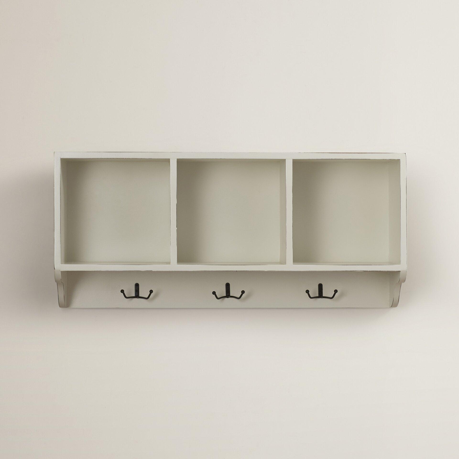 symple stuff wall shelf 3 hook wall coat rack reviews wayfair. Black Bedroom Furniture Sets. Home Design Ideas