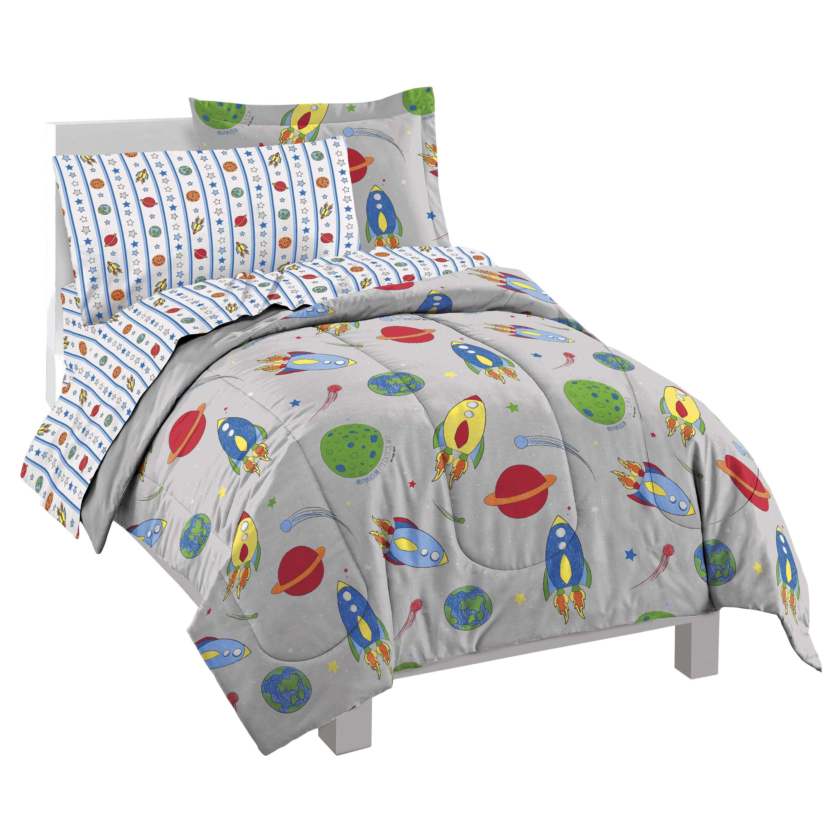 Zoomie Kids Kole Space Rocket 5 Piece Twin Bed In A Bag Set Reviews Wayfair