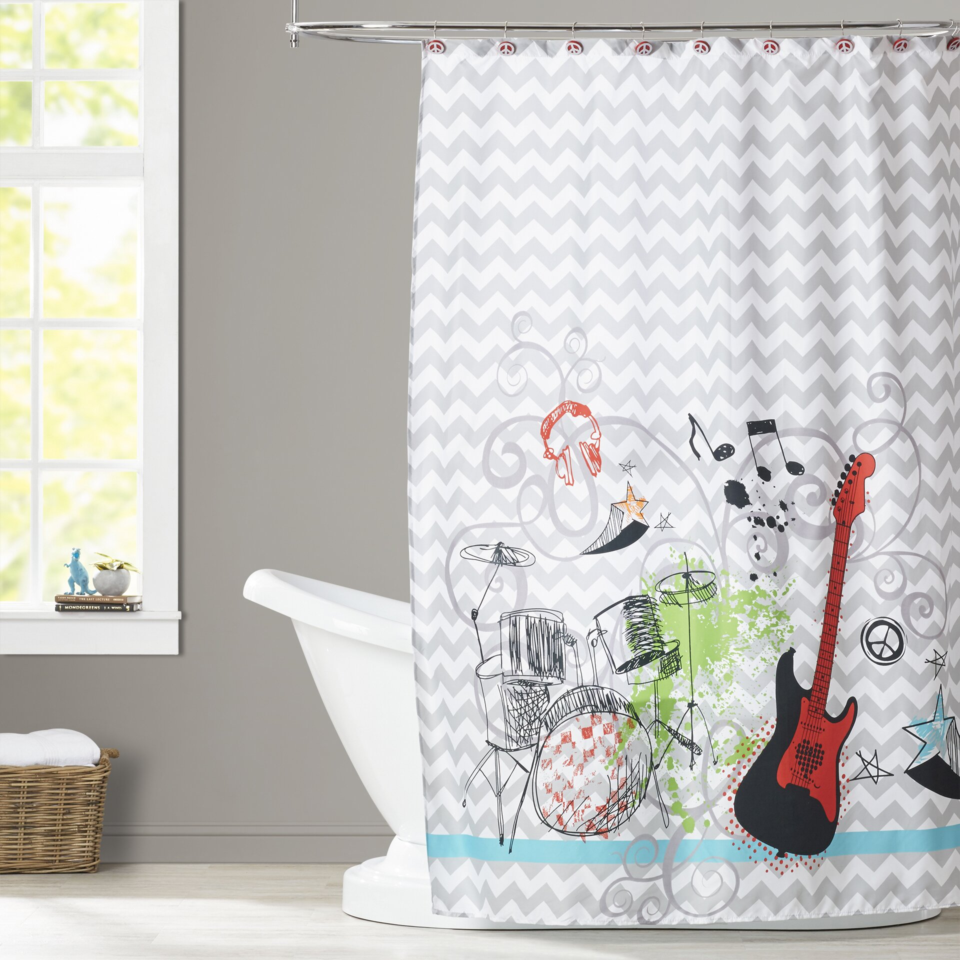 Zoomie kids quintin 13 piece shower curtain set reviews for Kids shower curtain sets