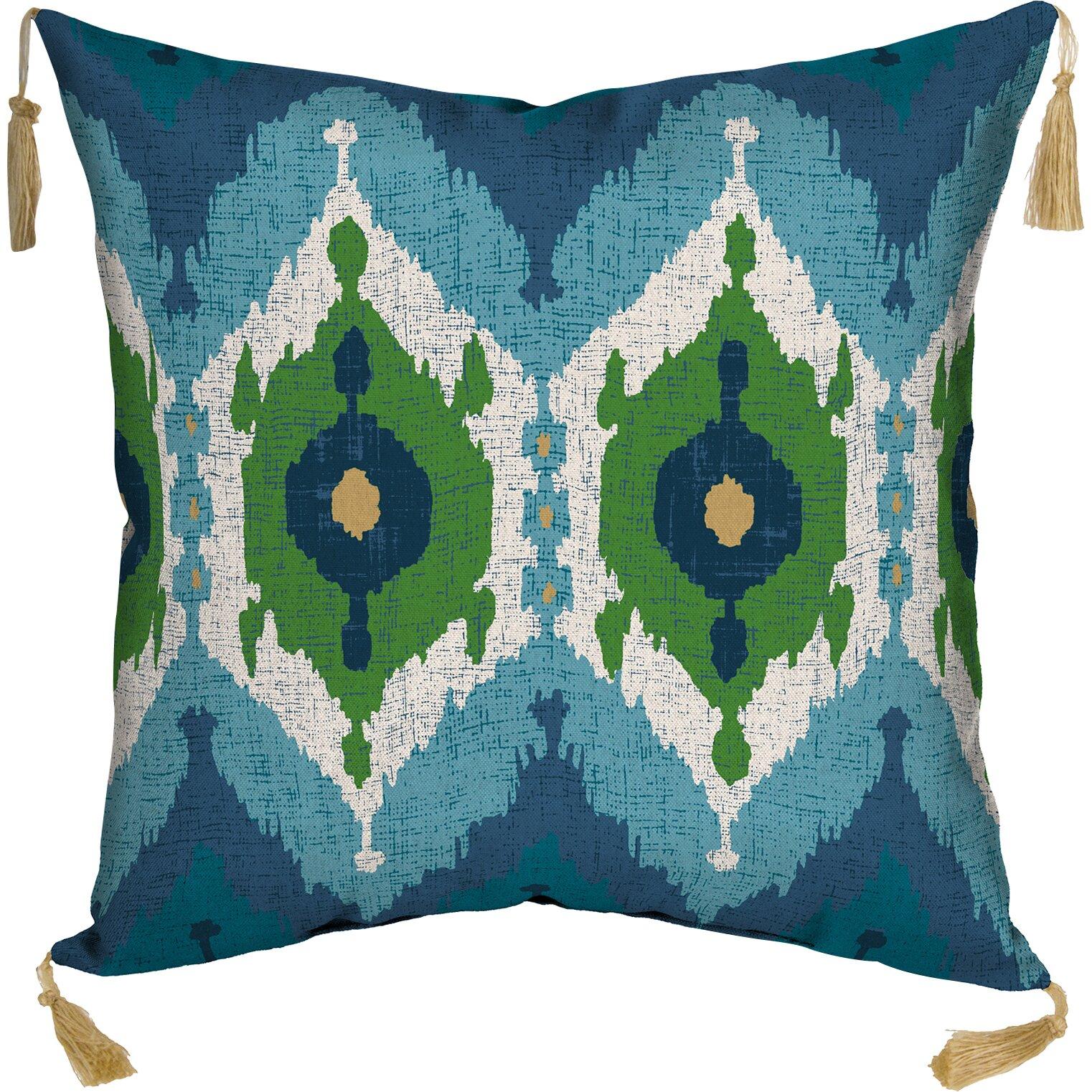 Zanzibar Throw Pillows : BombayOutdoors Royal Zanzibar Ikat Reversible Outdoor Throw Pillow & Reviews Wayfair