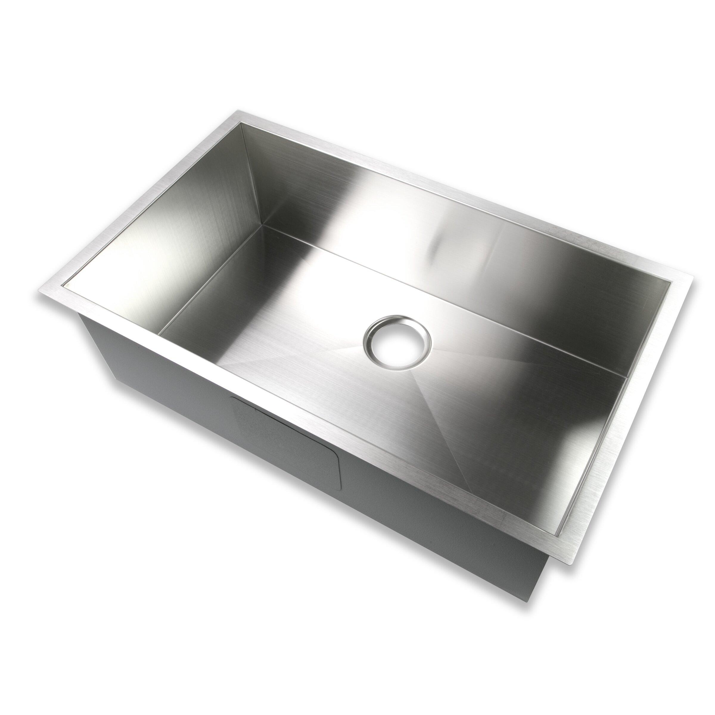 Handmade Stainless Steel Sink : ... Single Bowl 16 Gauge Stainless Steel Handmade Zero Radius Kitchen Sink
