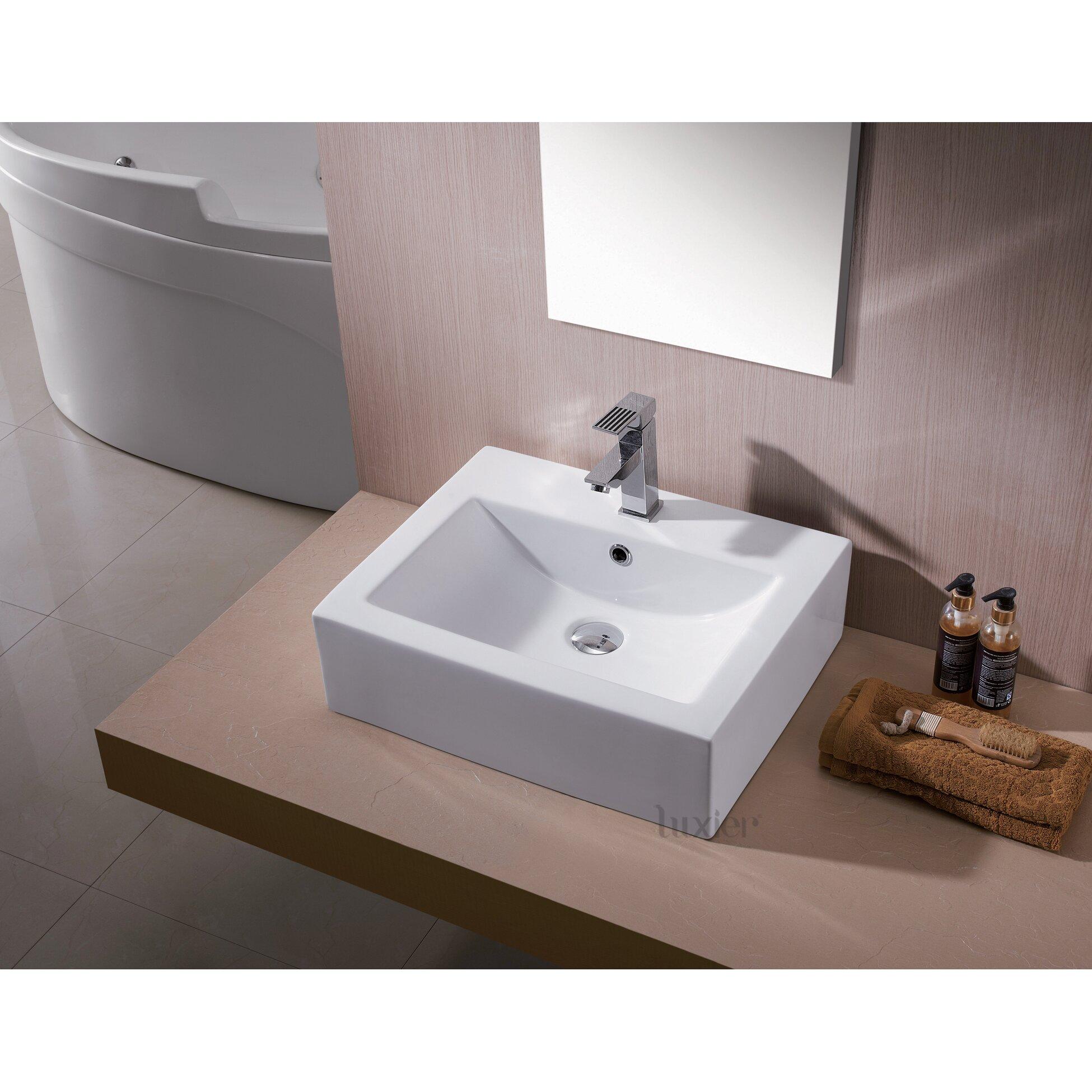 Luxier L-003 Bathroom Porcelain Ceramic Vessel Vanity Sink Art Basin ...