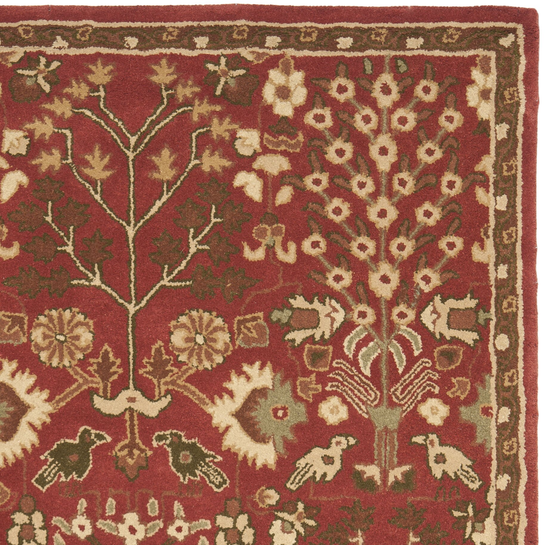 Astoria grand balthrop red floral area rug wayfair for Red floral area rug
