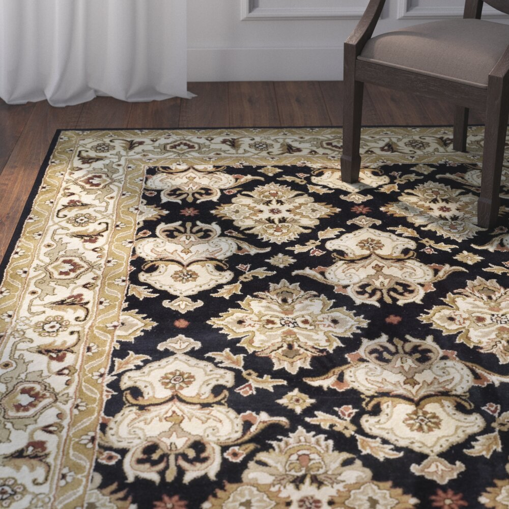 Dog Eating Wool Rug: Astoria Grand Balthrop Black/Ivory Area Rug & Reviews