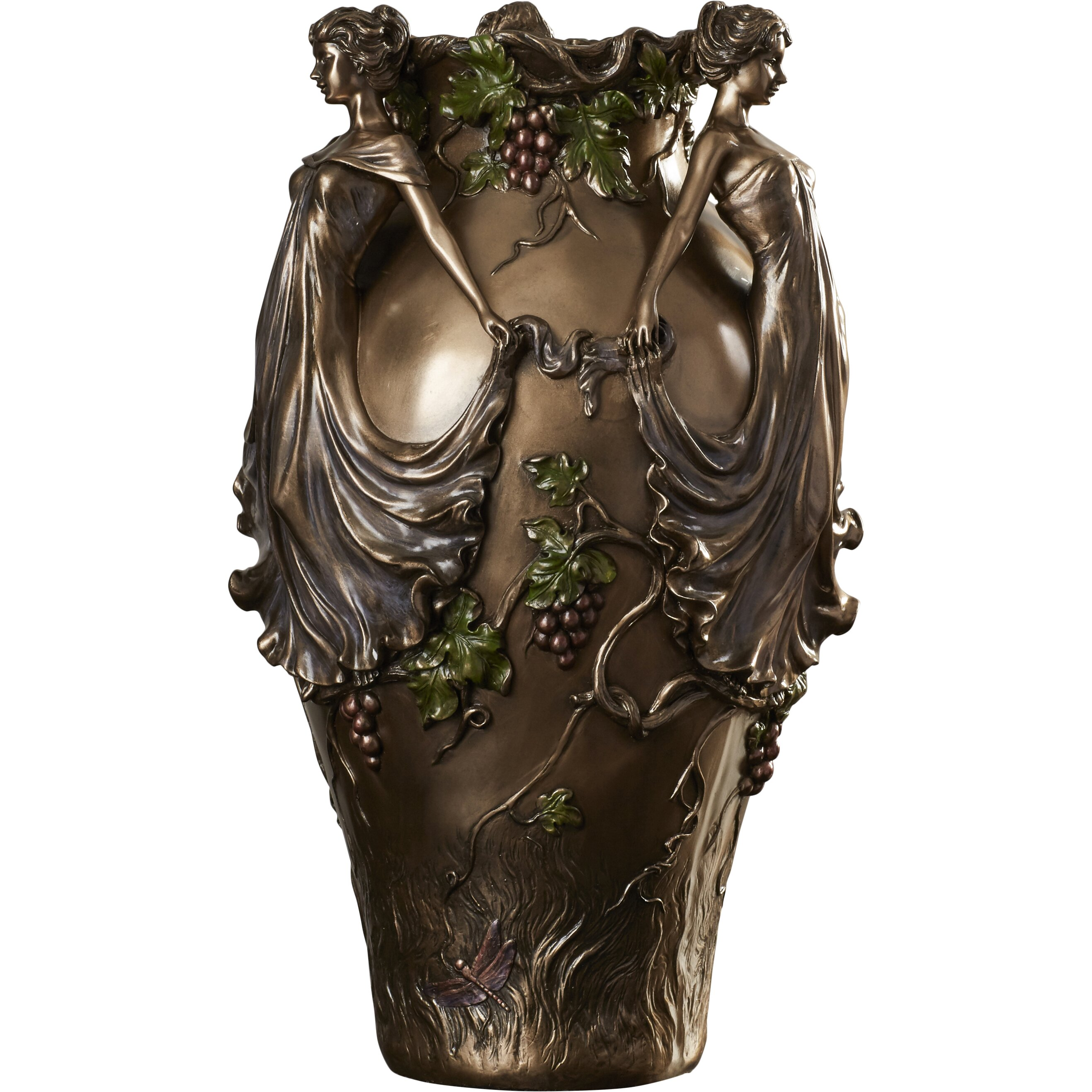 World menagerie dancing maidens centerpiece urn vase