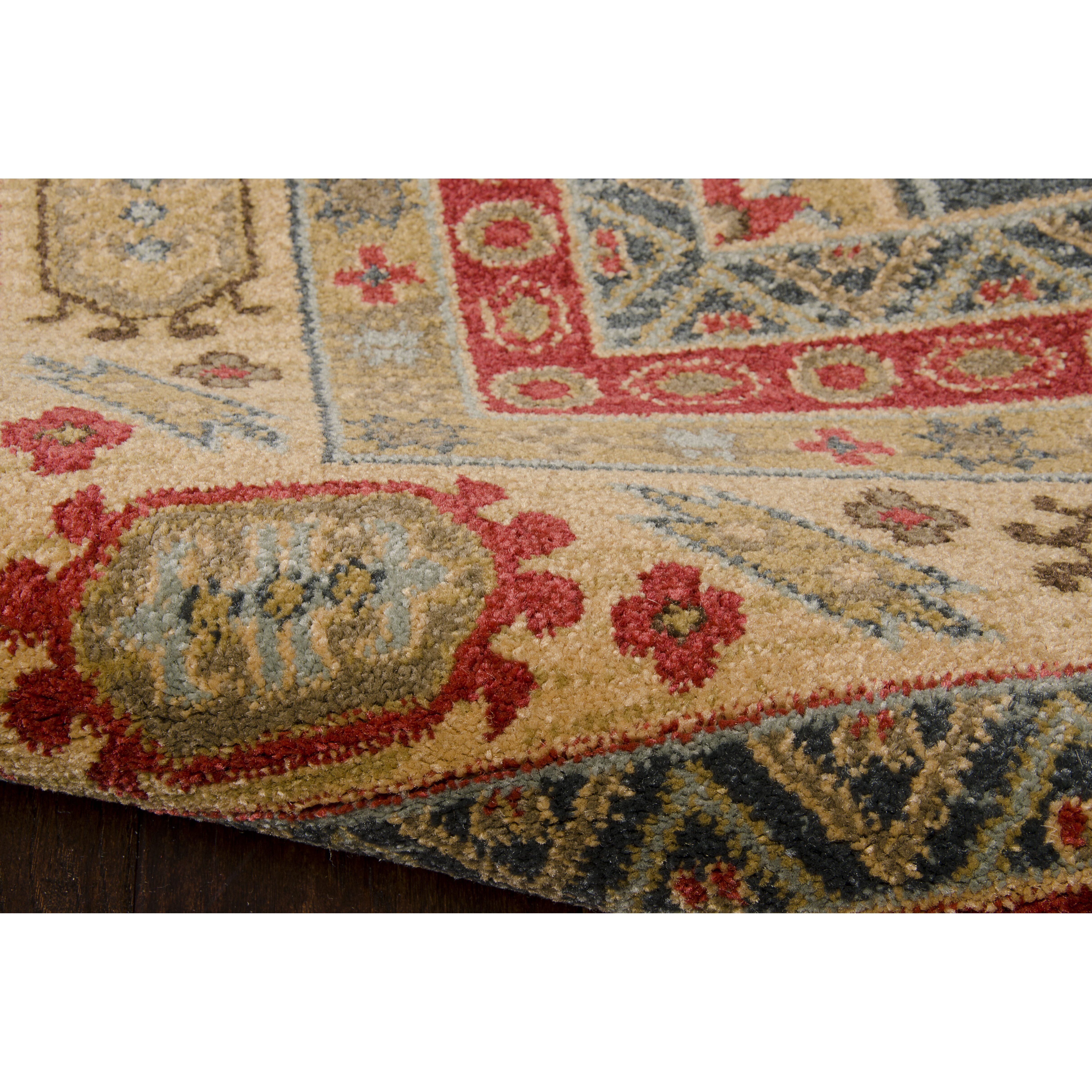 World menagerie fekhara gold red area rug wayfair for Red and gold area rugs