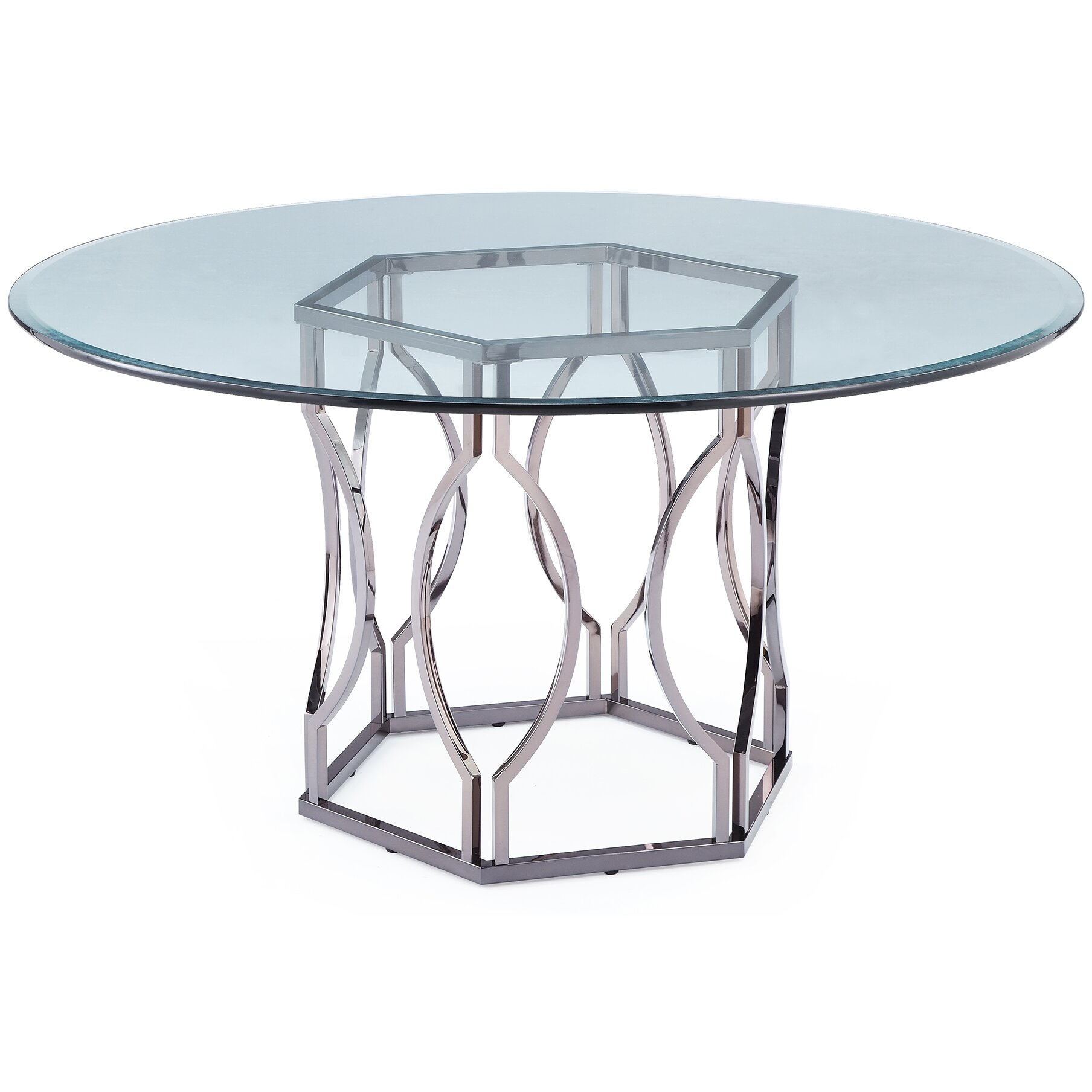 mercer41 viggo round glass dining table reviews wayfair. Black Bedroom Furniture Sets. Home Design Ideas
