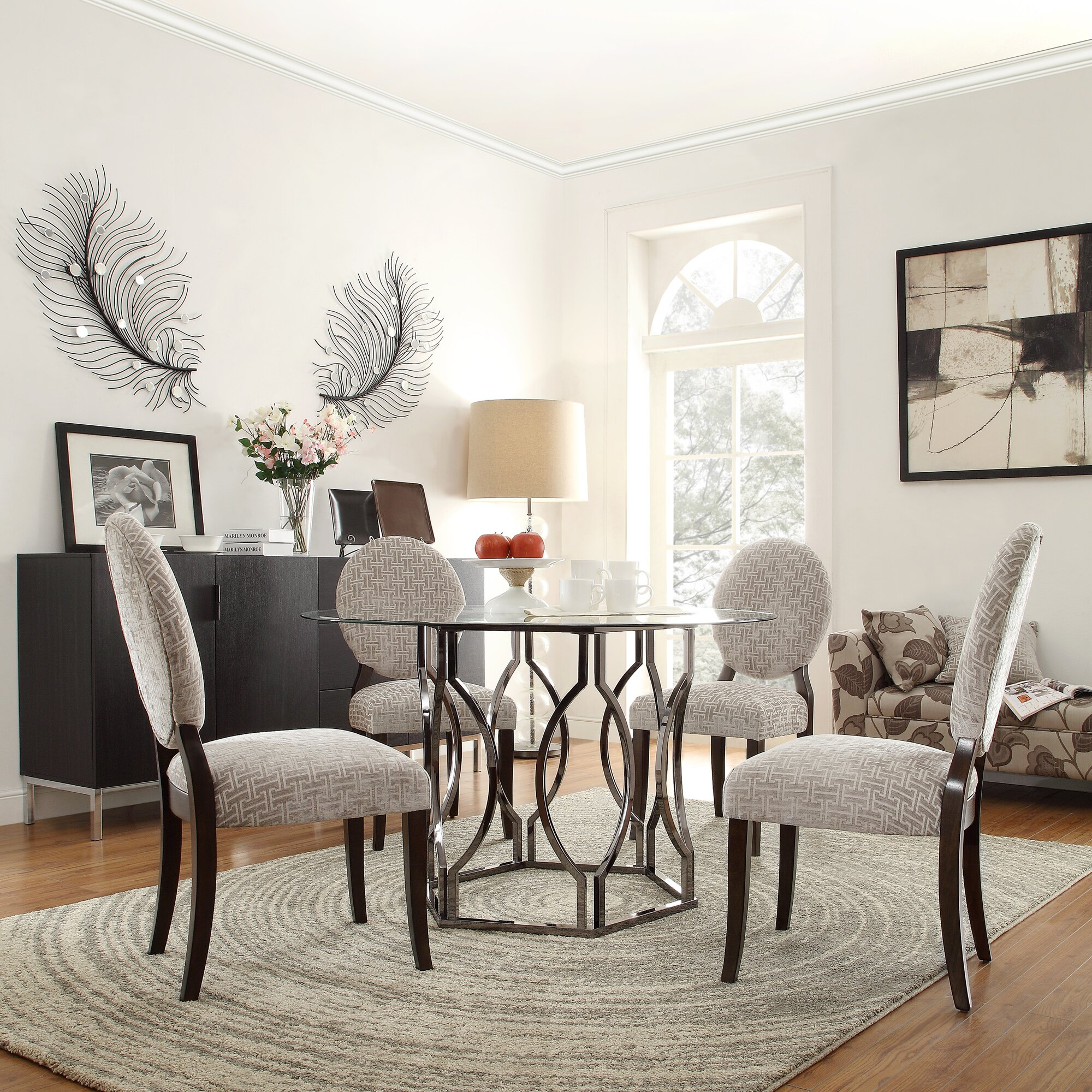 glass dining room furniture | Mercer41 Viggo Round Glass Dining Table & Reviews | Wayfair