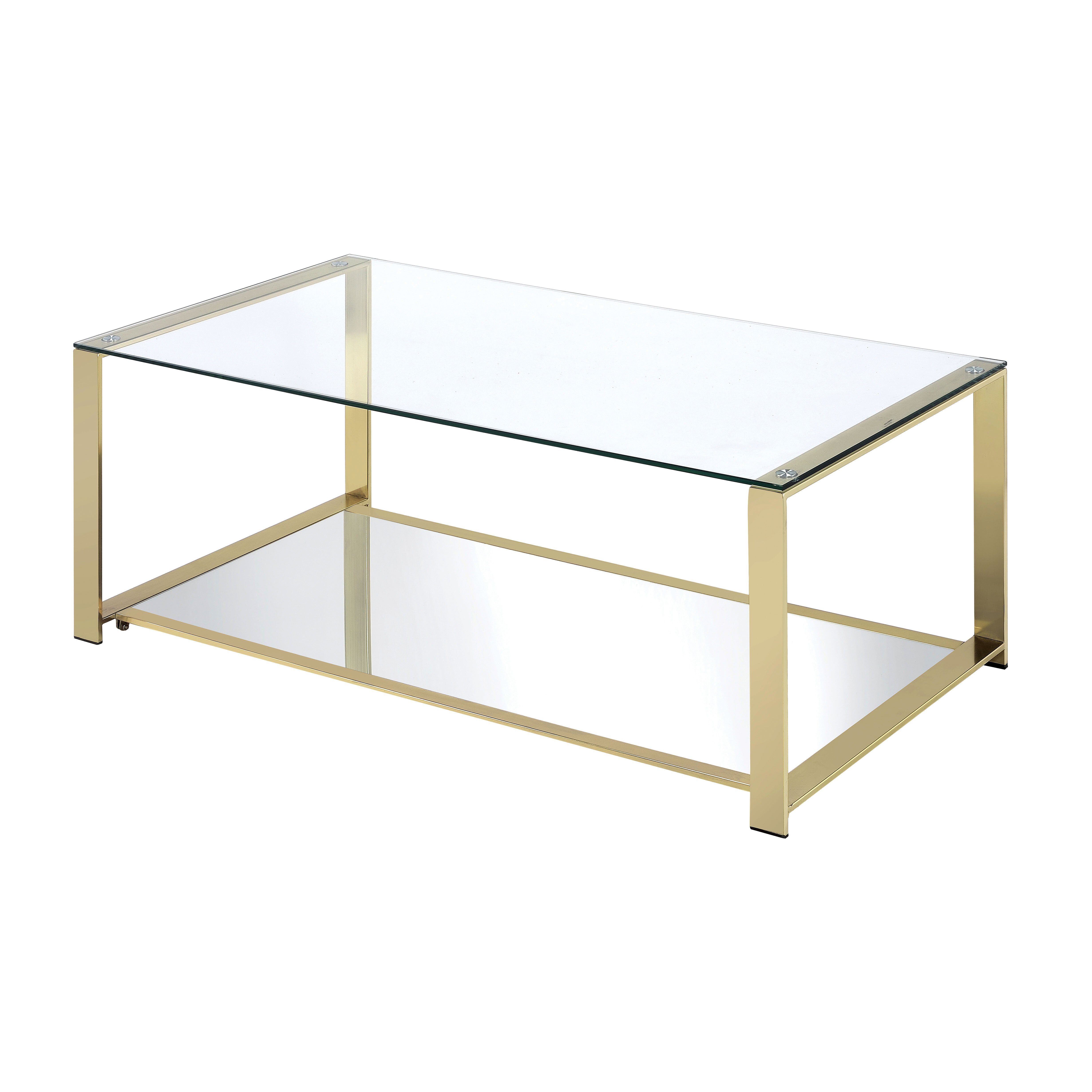 Mercer41 matthau metal frame coffee table reviews wayfair for Metal frame glass coffee table