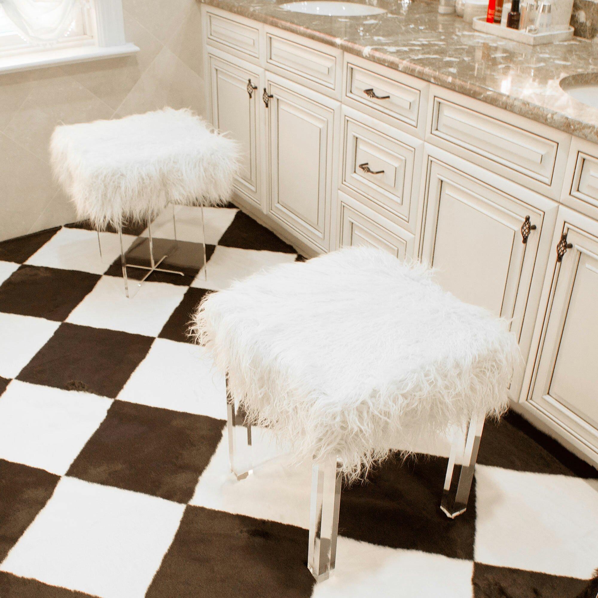 Mercer41 Kidman Lamb Faux Fur Acrylic Square Leg Stool & Reviews  Wayfair