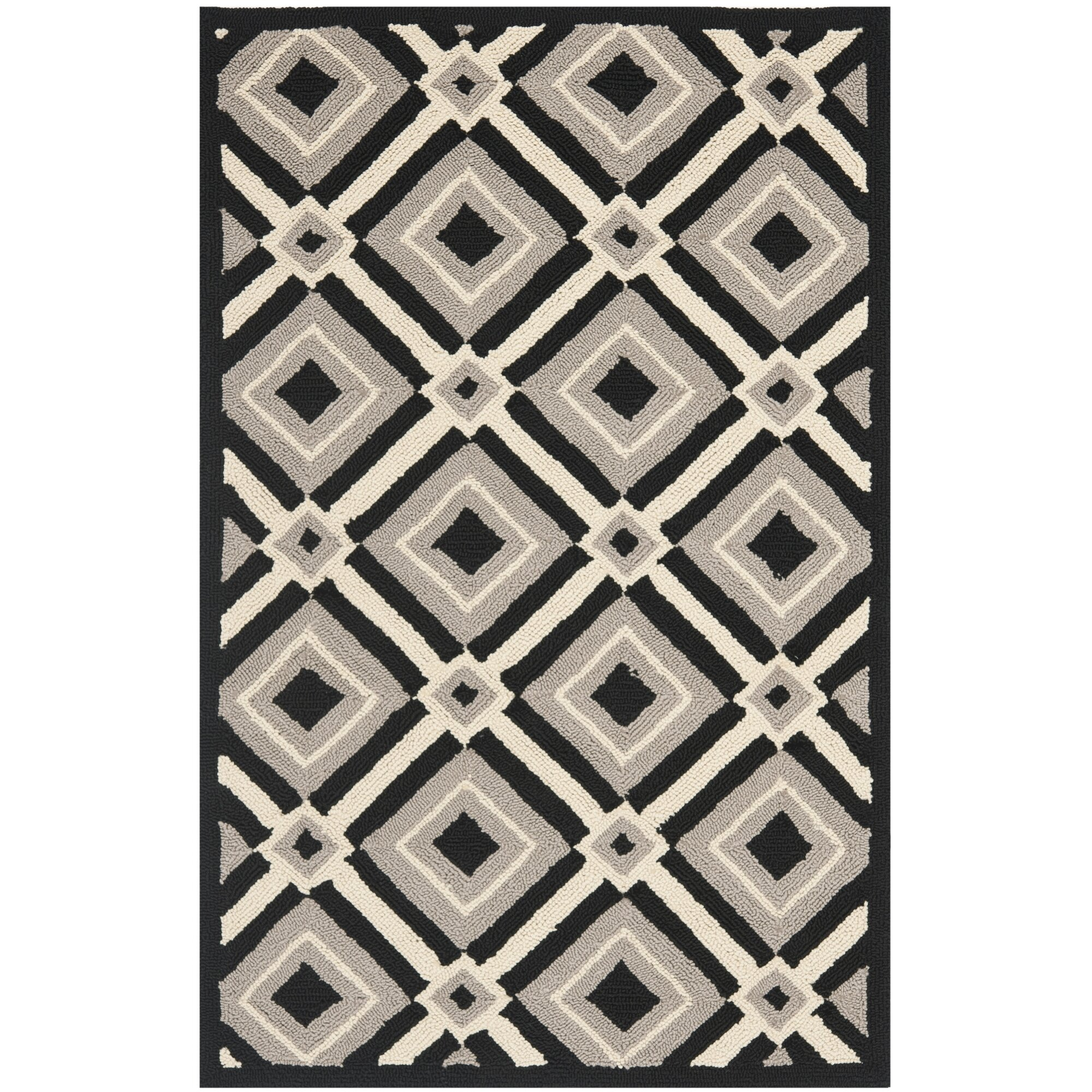 Black And Grey Rugs: Mercer41 Margate Black/Grey Outdoor Area Rug & Reviews