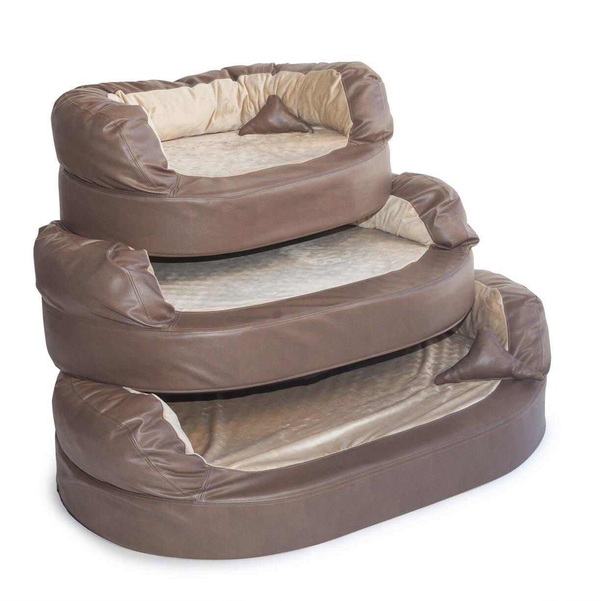 integrity bedding luxury orthopedic memory foam leatherette bolster dog bed reviews. Black Bedroom Furniture Sets. Home Design Ideas