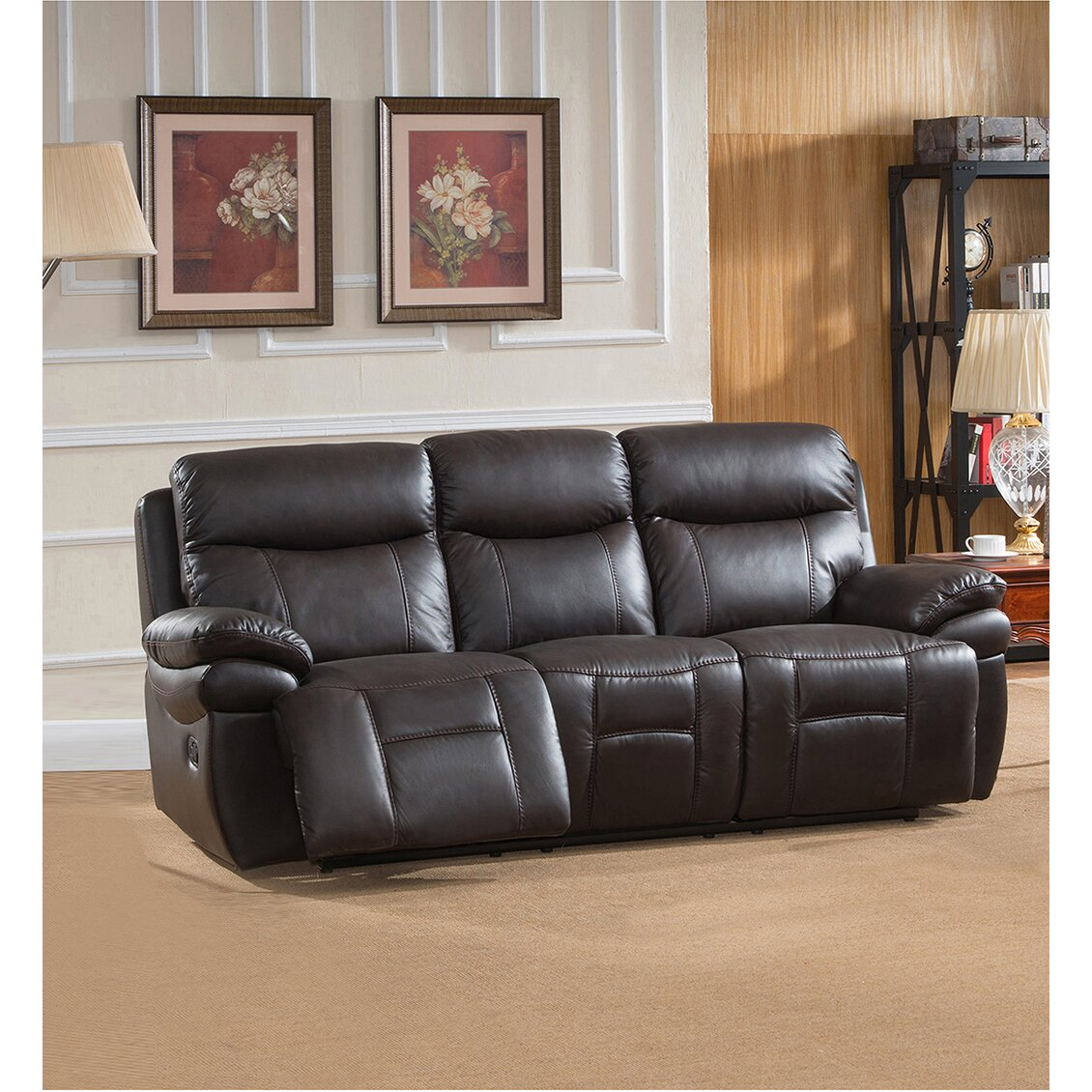 Amax rushmore 3 piece leather living room set wayfair for Living room 3 piece sets