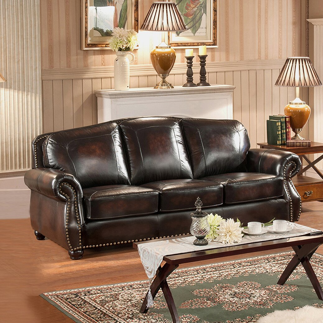 Amax vail 3 piece leather living room set wayfair for Leather living room sets