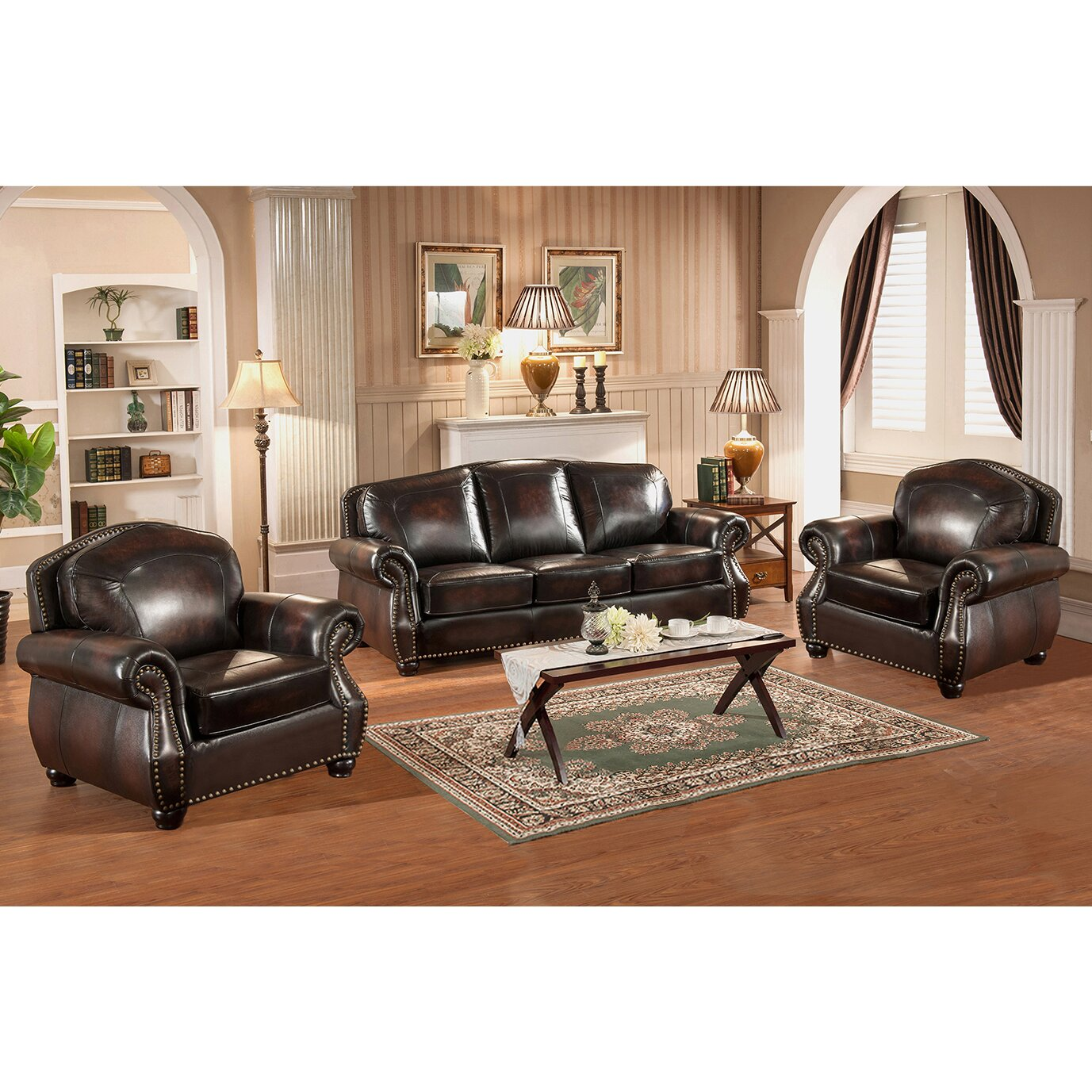 amax vail 3 piece leather living room set