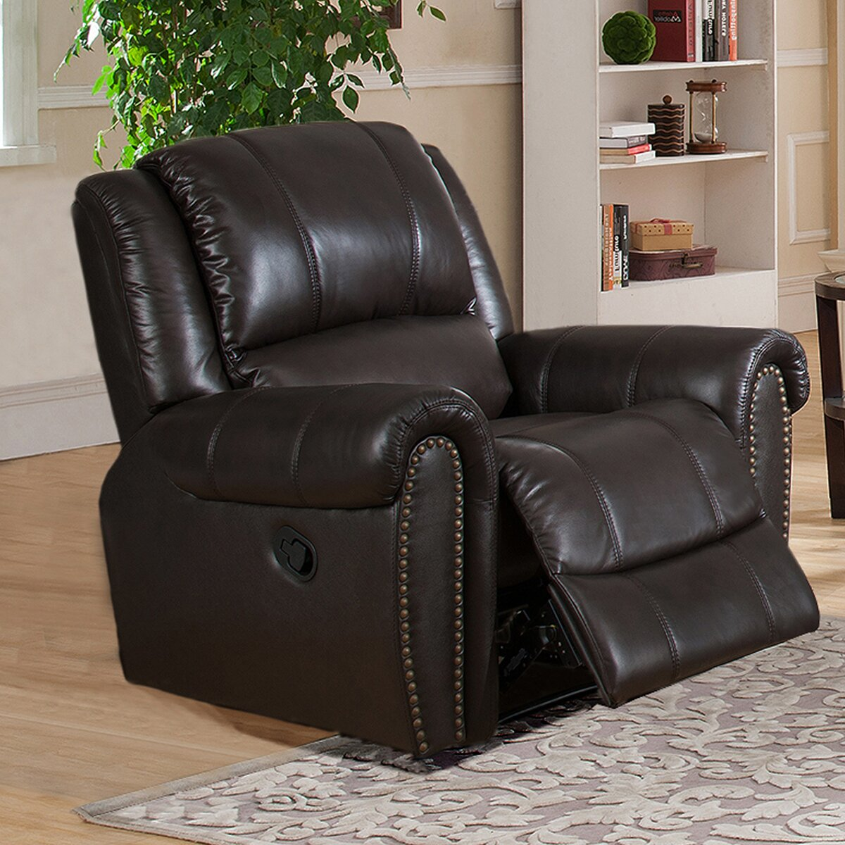 Amax charlotte 3 piece leather recliner living room set for Three piece leather living room set