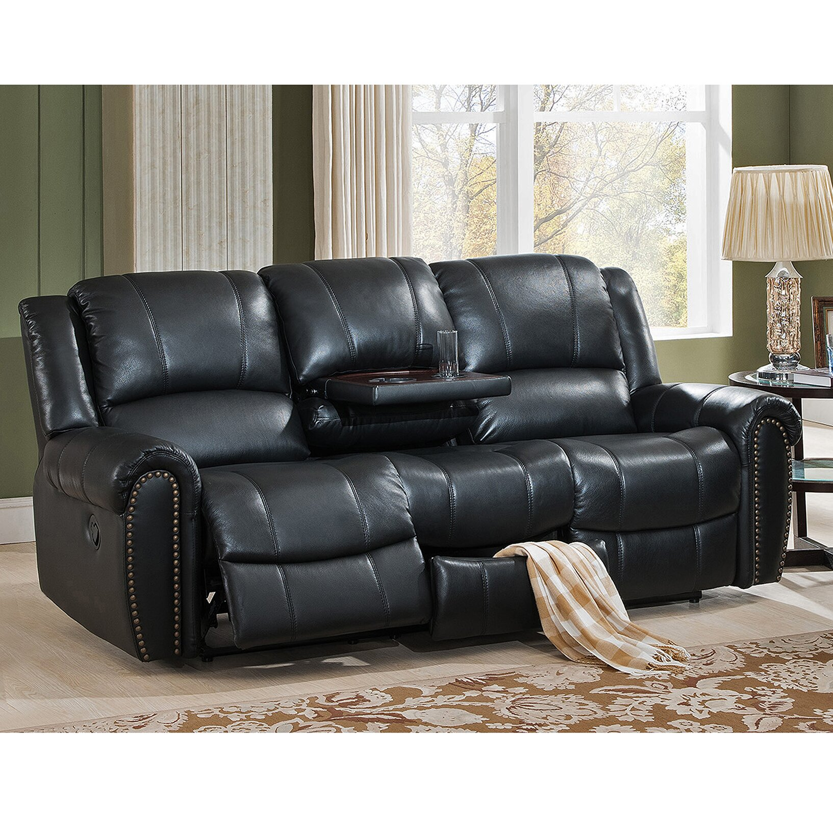 Amax houston 3 piece leather recliner living room set for 3 piece living room set