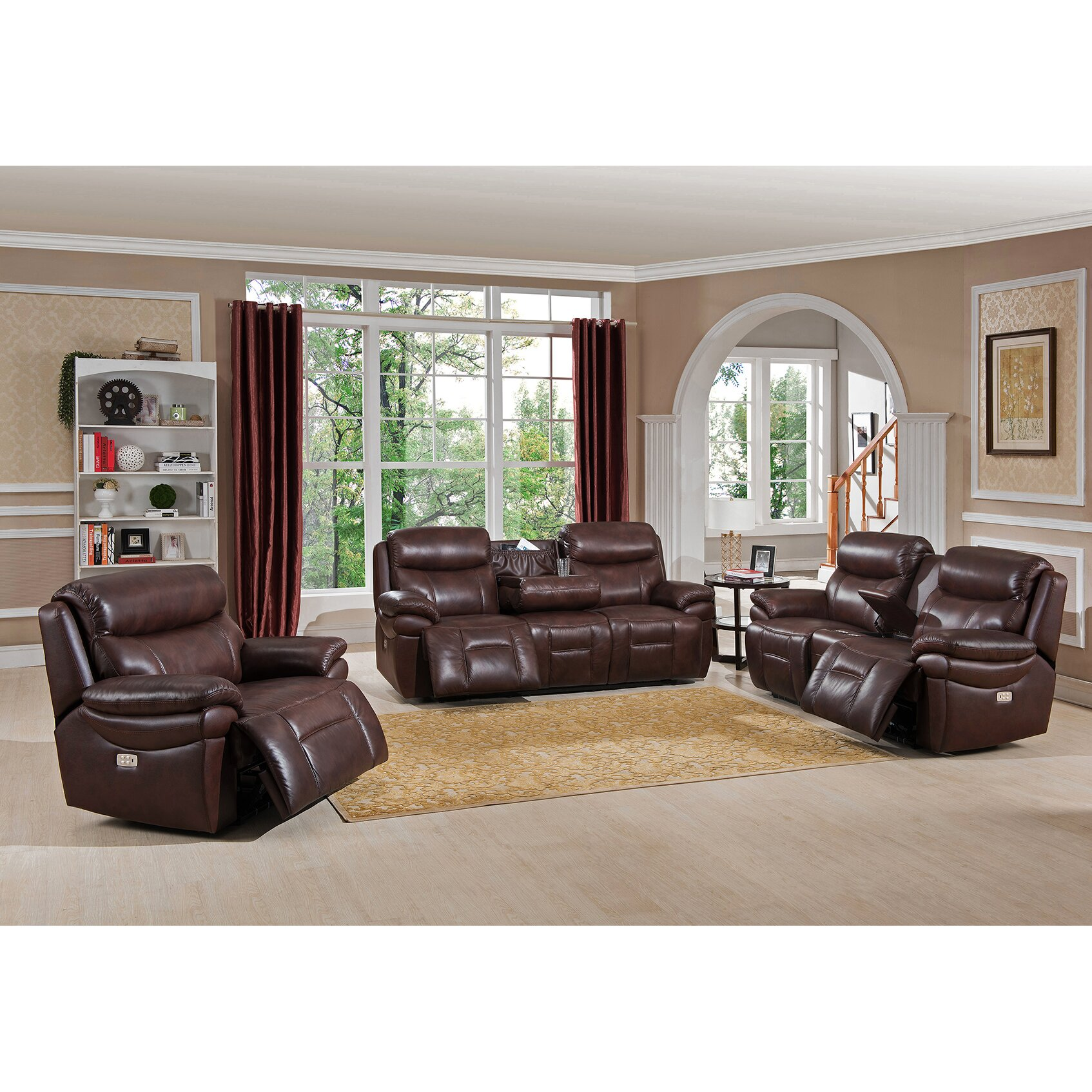 Amax sanford 3 piece leather power reclining living room for Living room sets