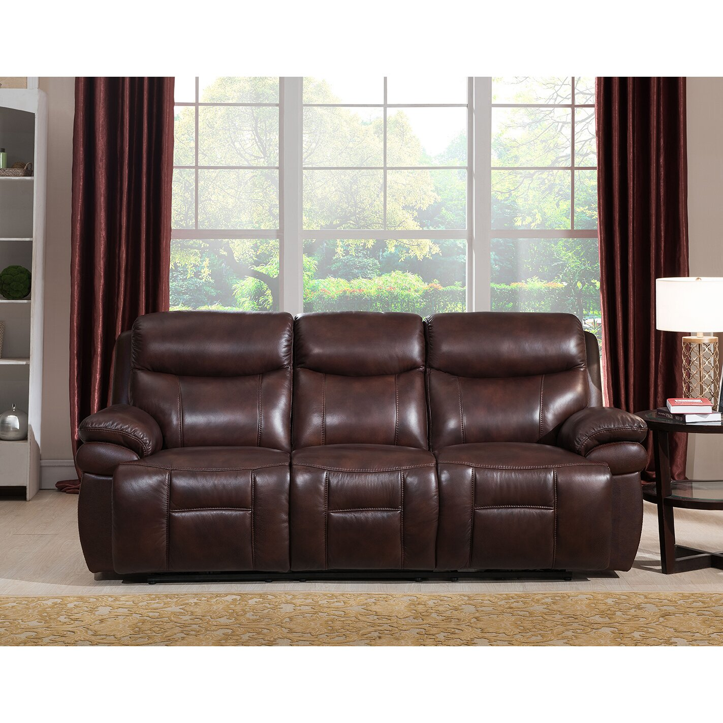 Amax Sanford 2 Piece Leather Power Reclining Living Room Set With Power Headr
