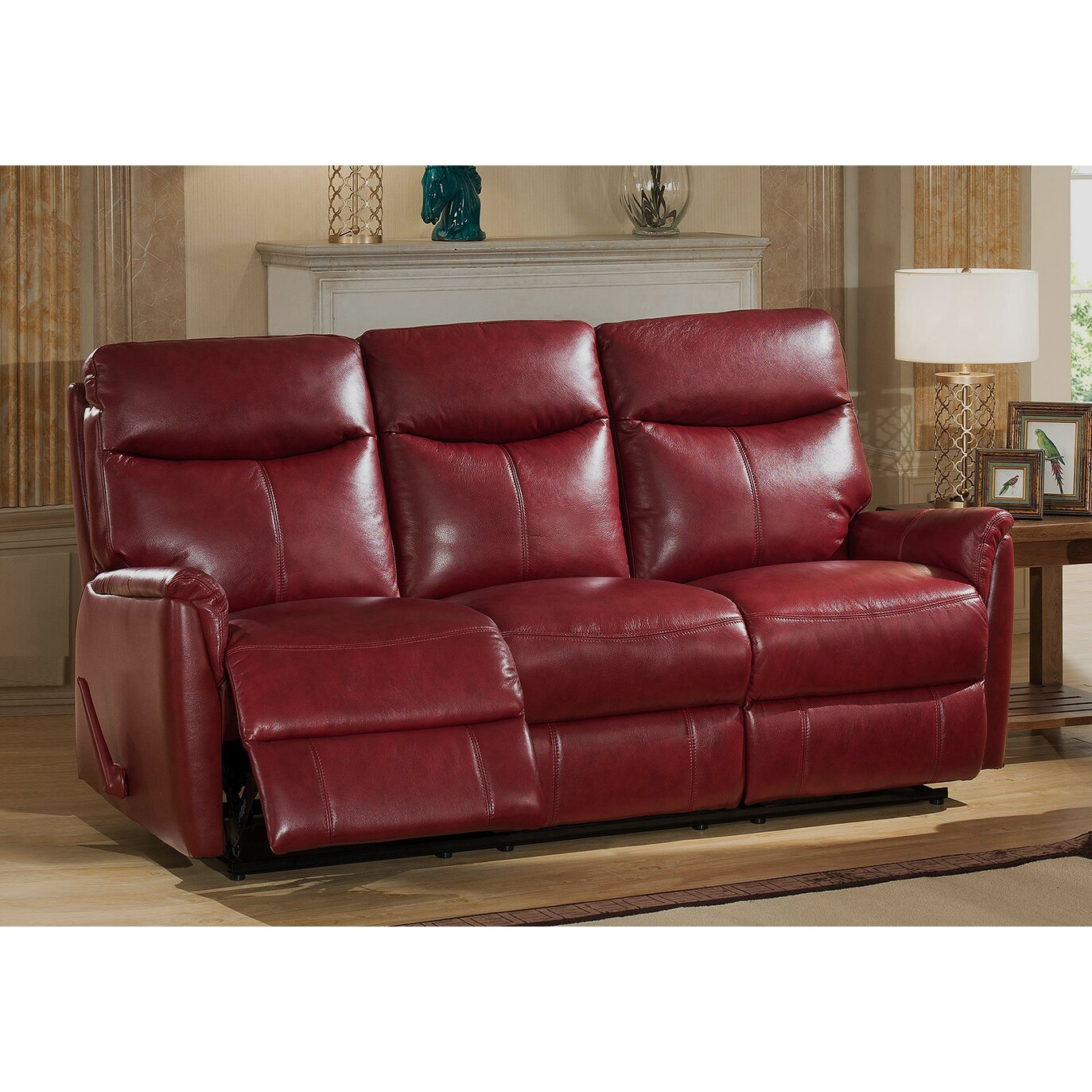Amax napa top grain leather lay flat reclining sofa and for Leather sofa and loveseat set