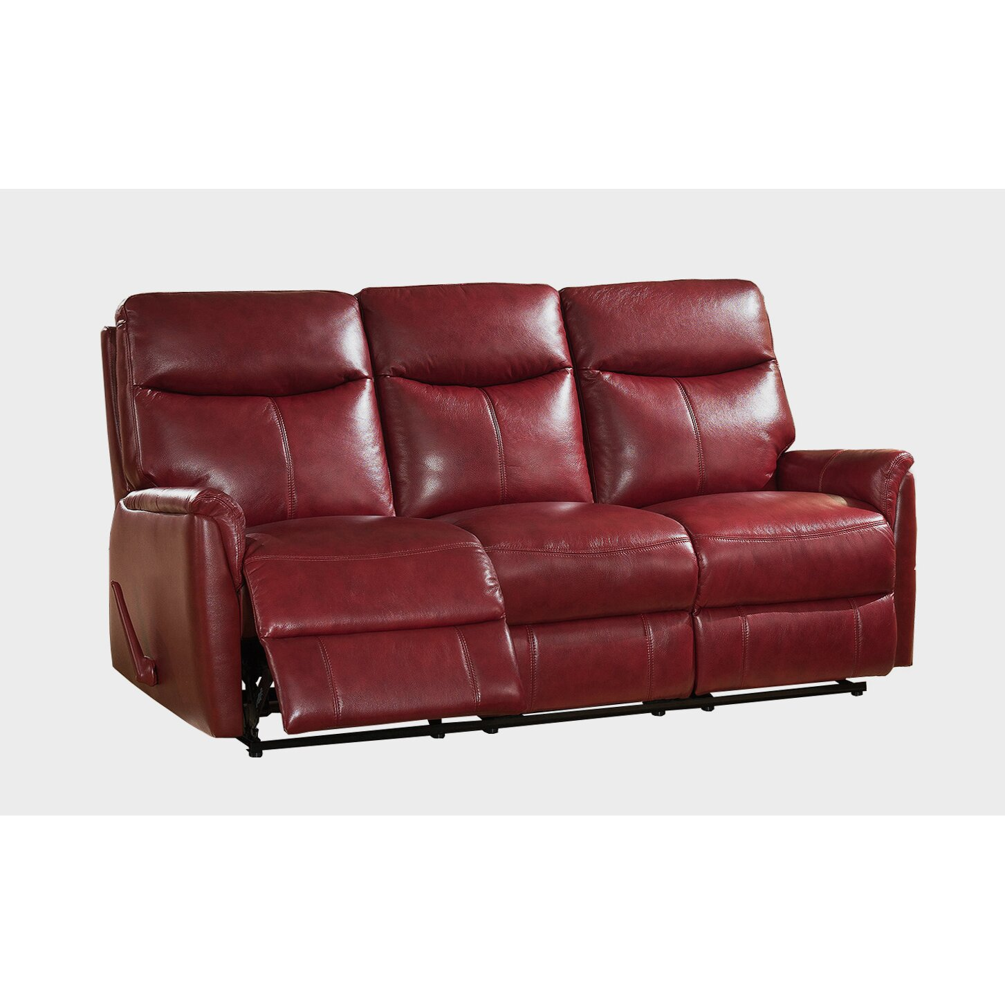 Amax napa top grain leather lay flat reclining sofa and loveseat set wayfair Leather reclining sofa loveseat