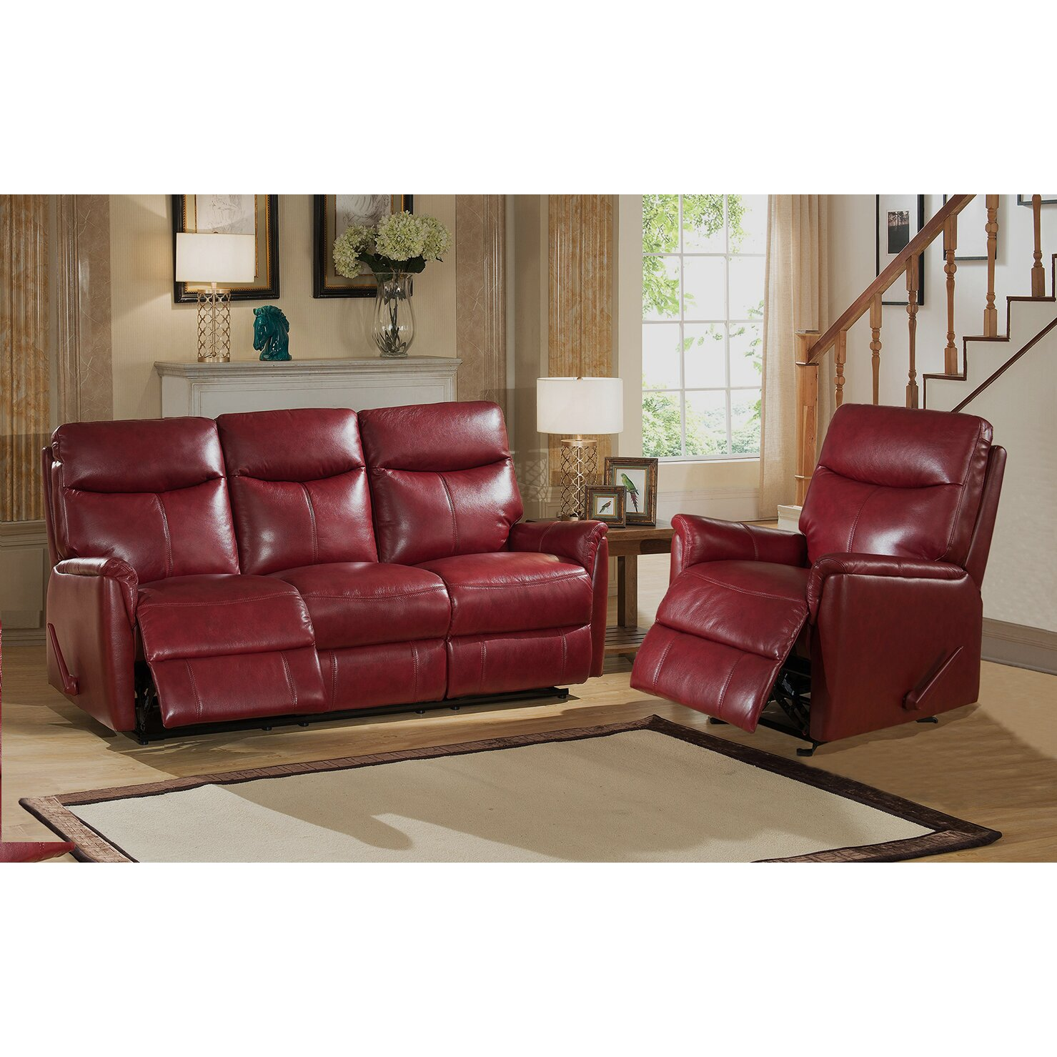 Amax napa 2 piece top grain leather lay flat reclining living room set wayfair 2 piece leather living room set