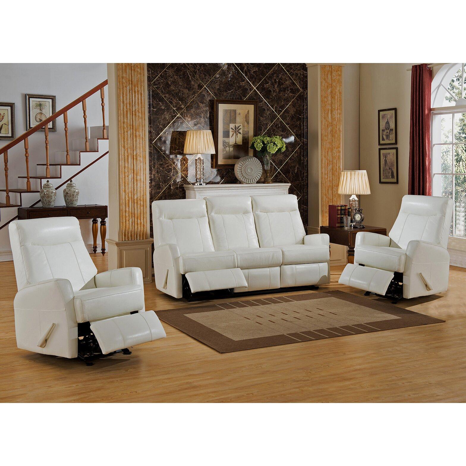 Amax toledo 3 piece leather living room set wayfair for Three piece leather living room set