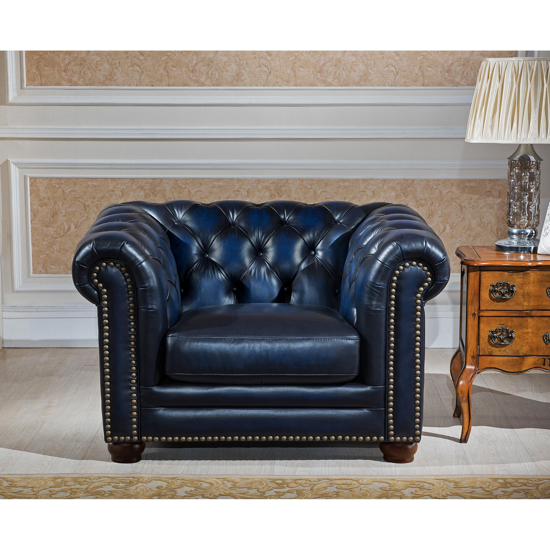 amax nebraska chesterfield genuine leather sofa loveseat and chair set wayfair. Black Bedroom Furniture Sets. Home Design Ideas