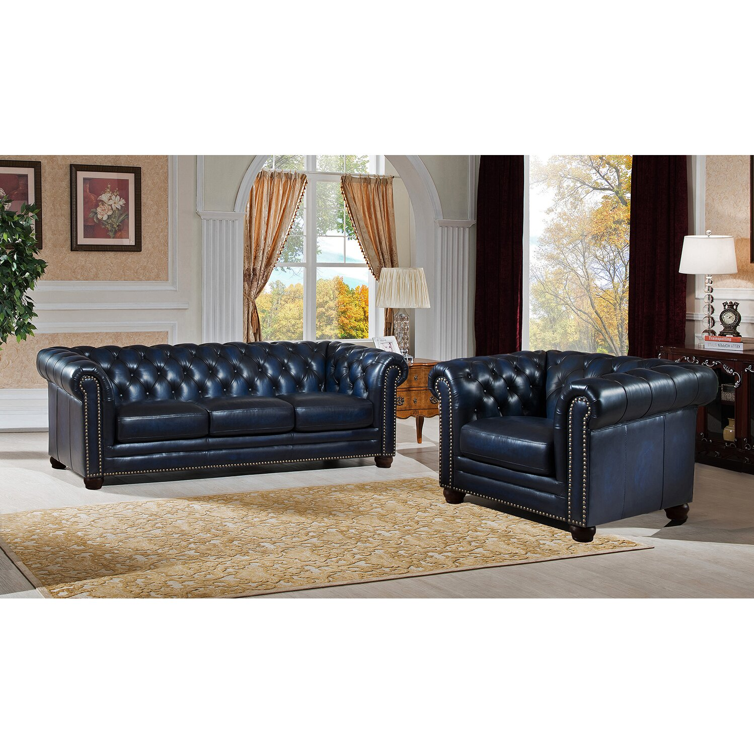 amax nebraska chesterfield genuine leather sofa and chair set wayfair. Black Bedroom Furniture Sets. Home Design Ideas