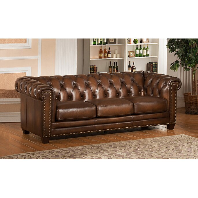 Www Overstock Furniture Com: Amax Hickory Chesterfield Leather Sofa