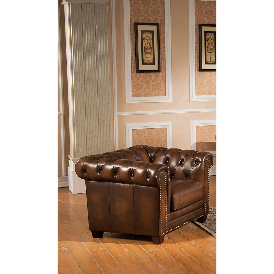 Amax Hickory Chesterfield Genuine Leather 3 Piece Leather Living Room Set Wayfair