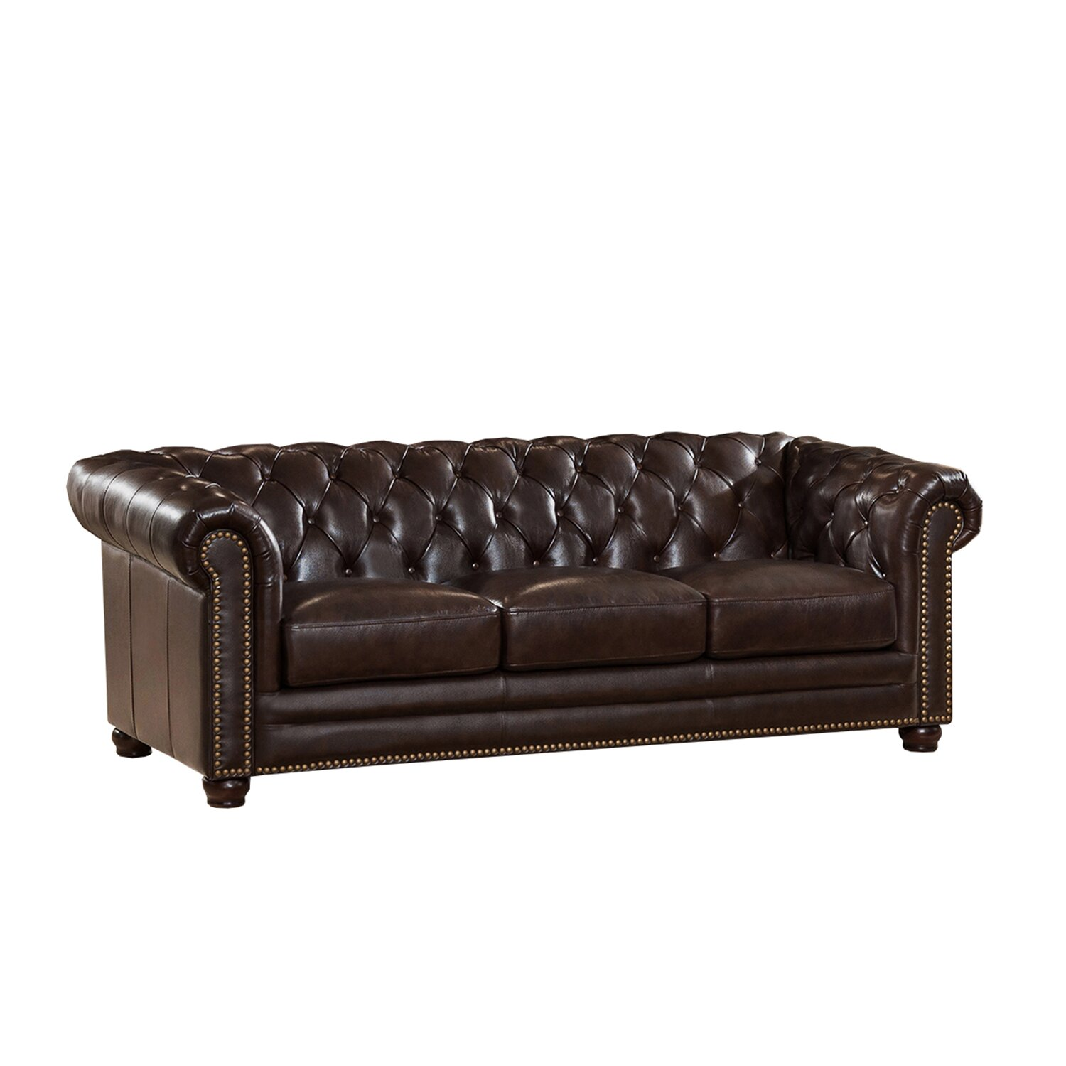 amax kensington top grain leather chesterfield sofa wayfair. Black Bedroom Furniture Sets. Home Design Ideas