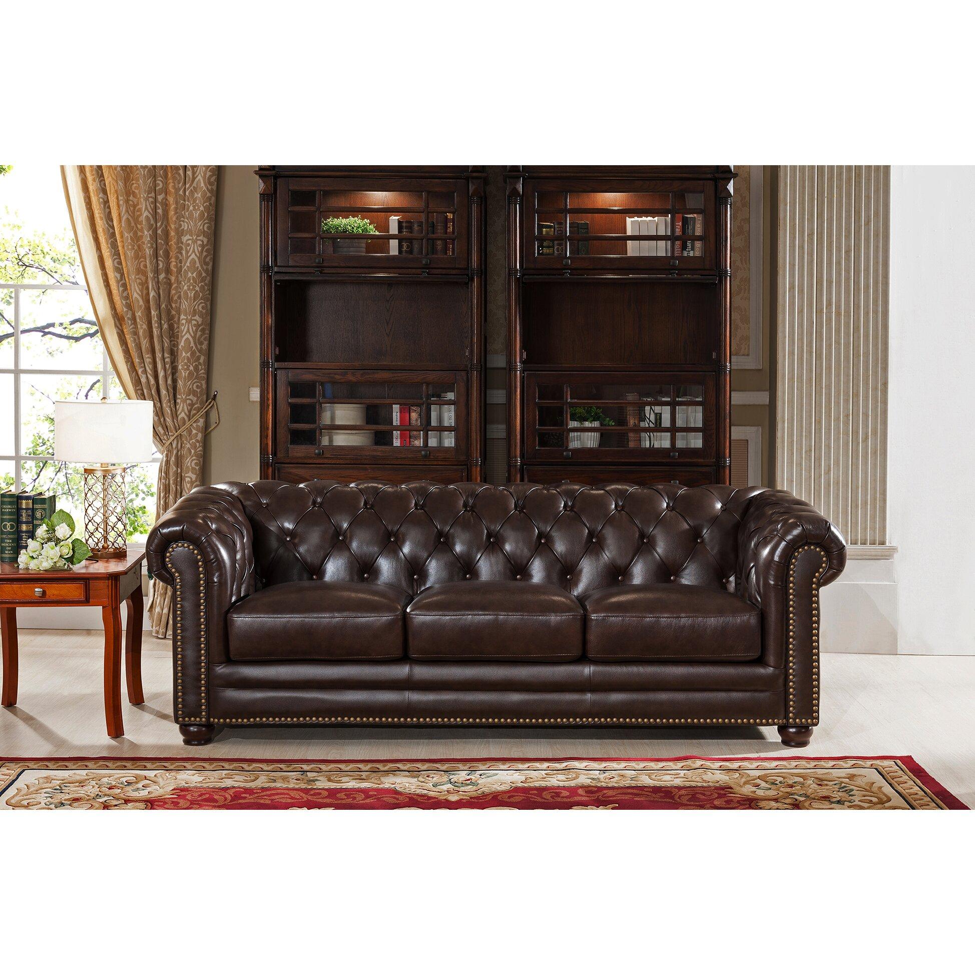 Amax Kensington Top Grain Leather Chesterfield Sofa and Two Chair Set Wayfair ca