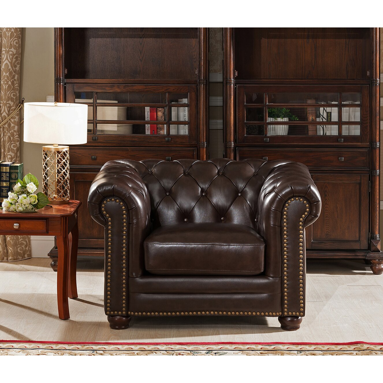 Amax Kensington Top Grain Leather Chesterfield Sofa and Chair Wayfair