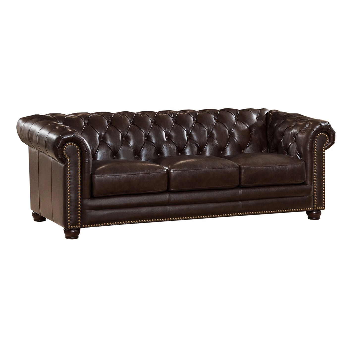Amax Kensington Top Grain Leather Chesterfield Sofa and Two Chair Set Wayfair