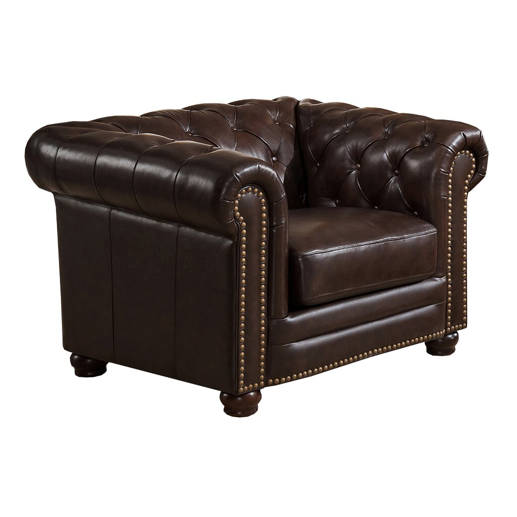 Amax Kensington Top Grain Leather Chesterfield Sofa and Two Chair Set Wayfair ca