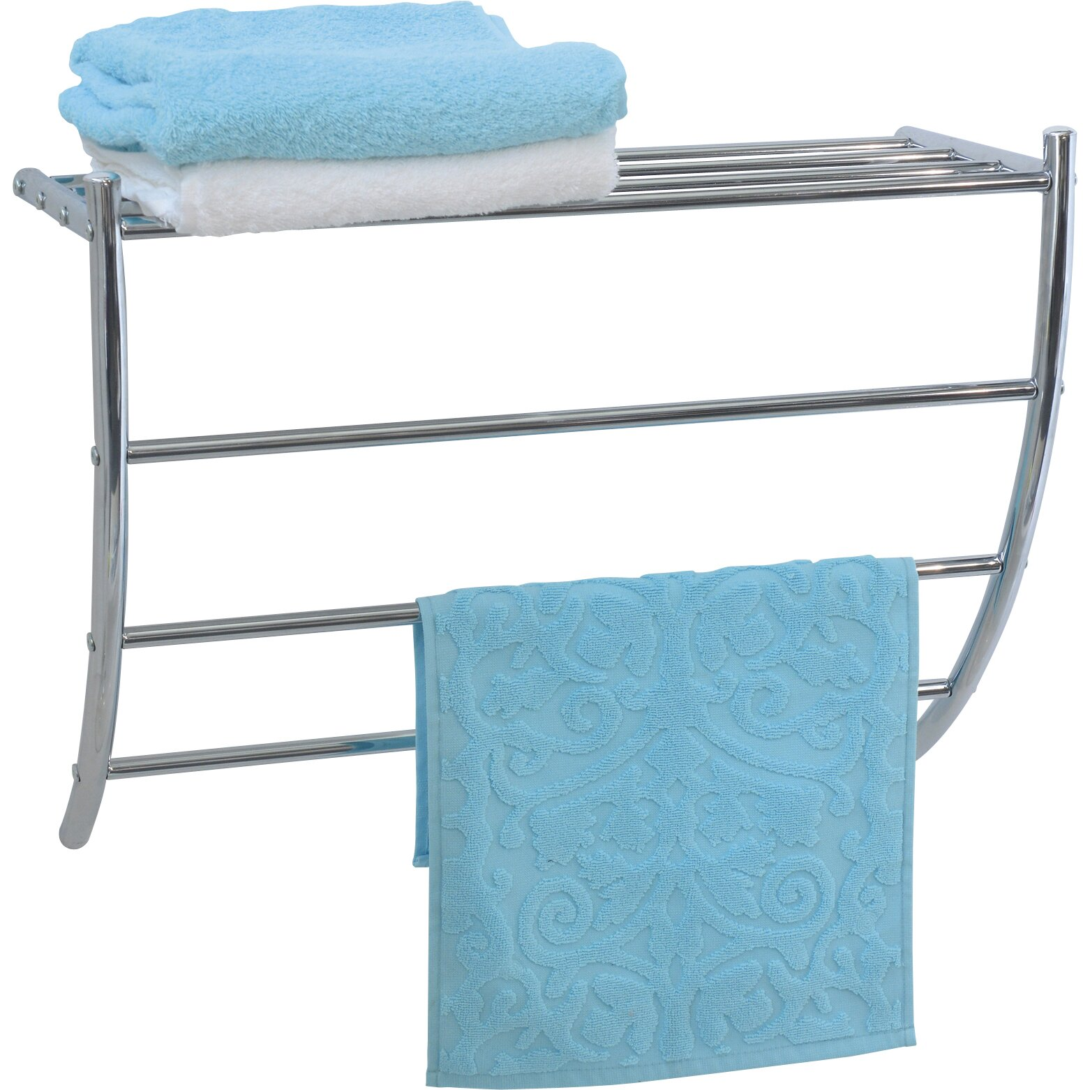 Evideco wall mounted bath shelf and towel rack reviews for Bathroom towel racks