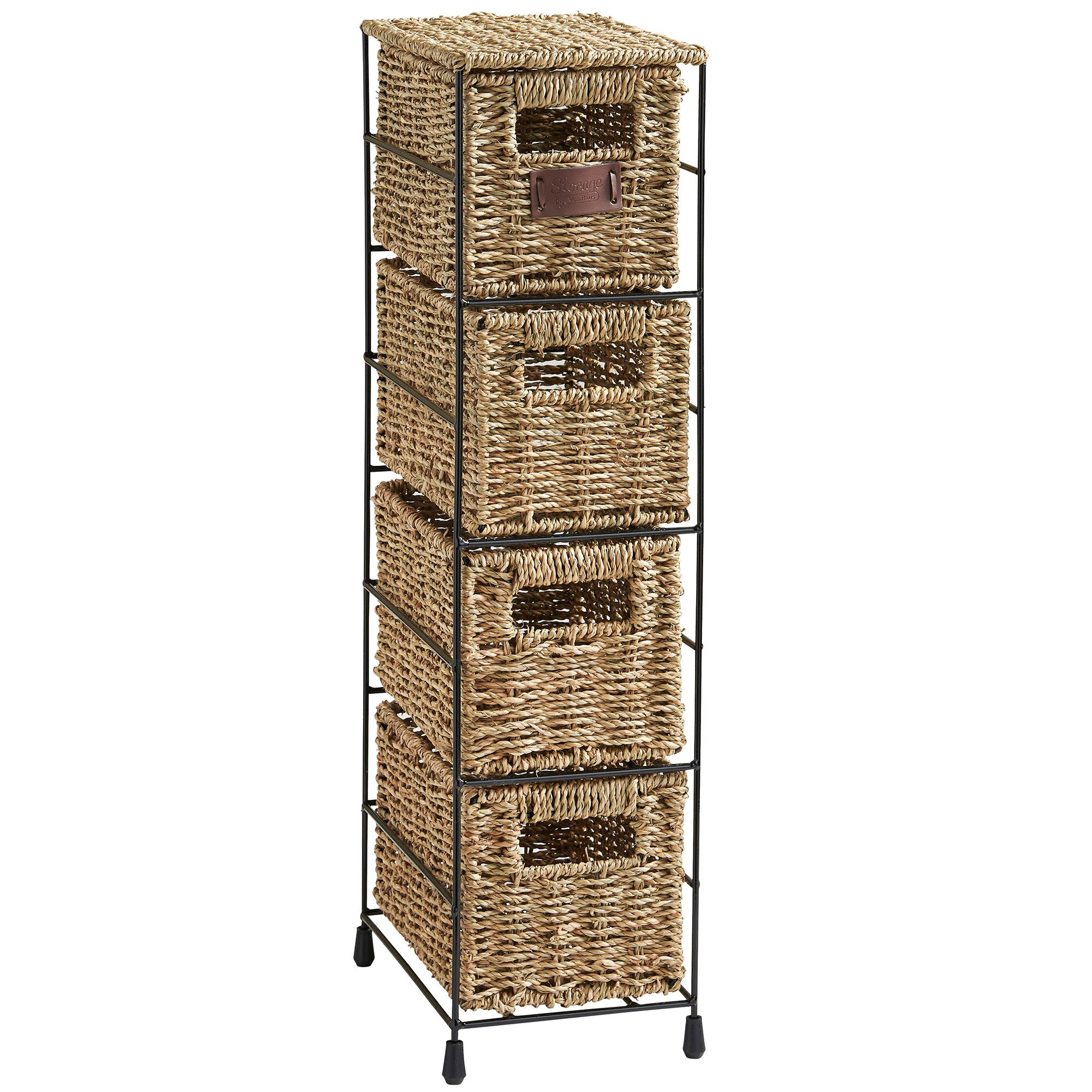 Vonhaus 4 Tier Seagrass Storage Basket Tower Unit