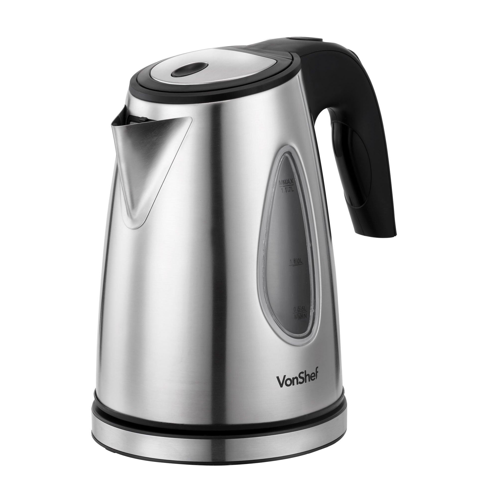 Stainless Steel Kettle ~ Vonshef qt stainless steel cordless tea kettle wayfair