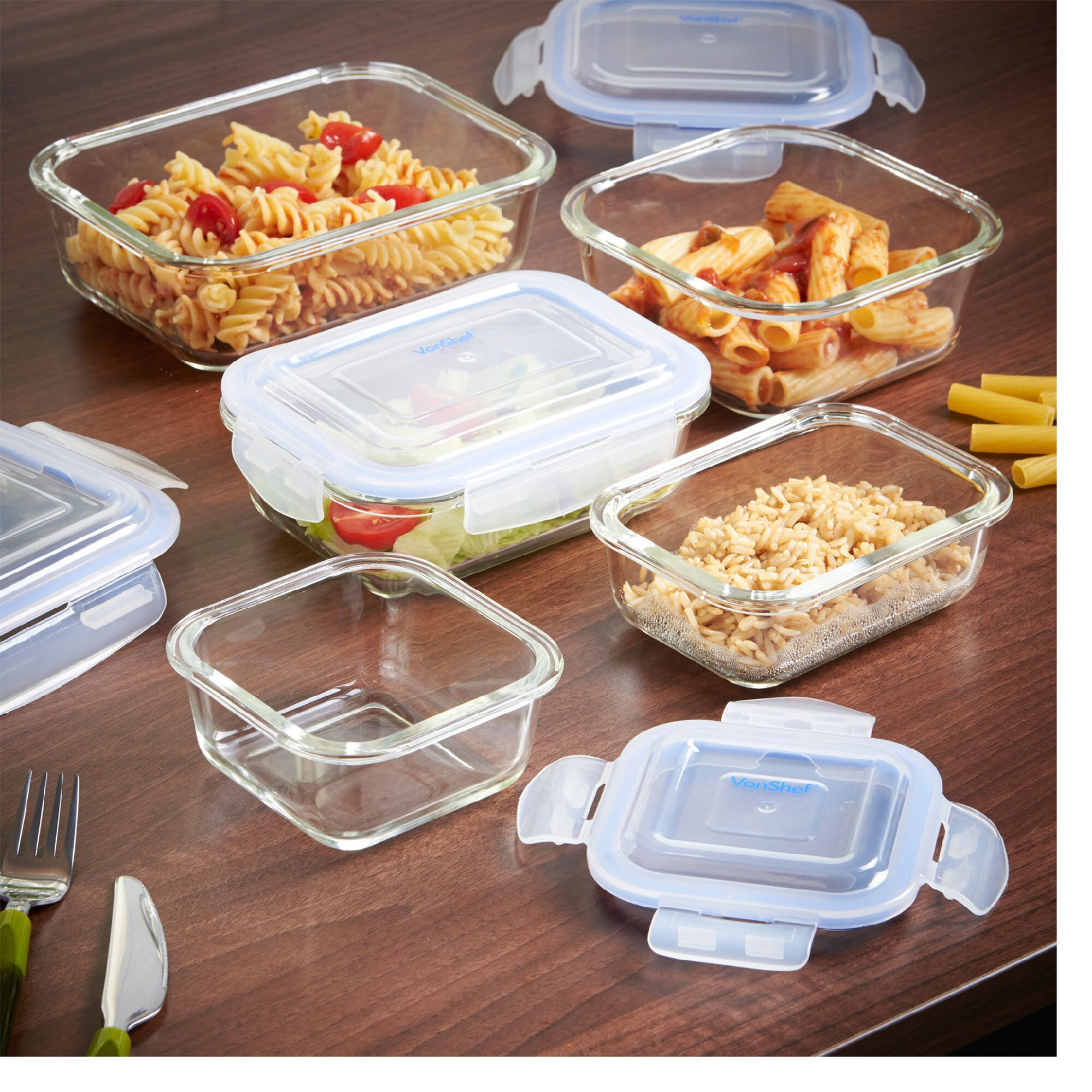 vonshef 10 piece glass food storage container set wayfair. Black Bedroom Furniture Sets. Home Design Ideas