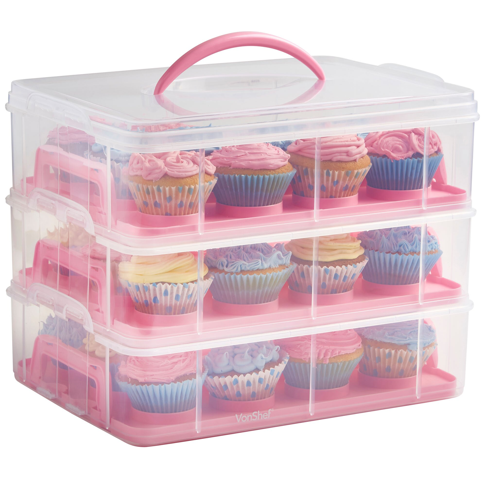 Vonshef 3 Tier Cupcake Holder And Carrier Container