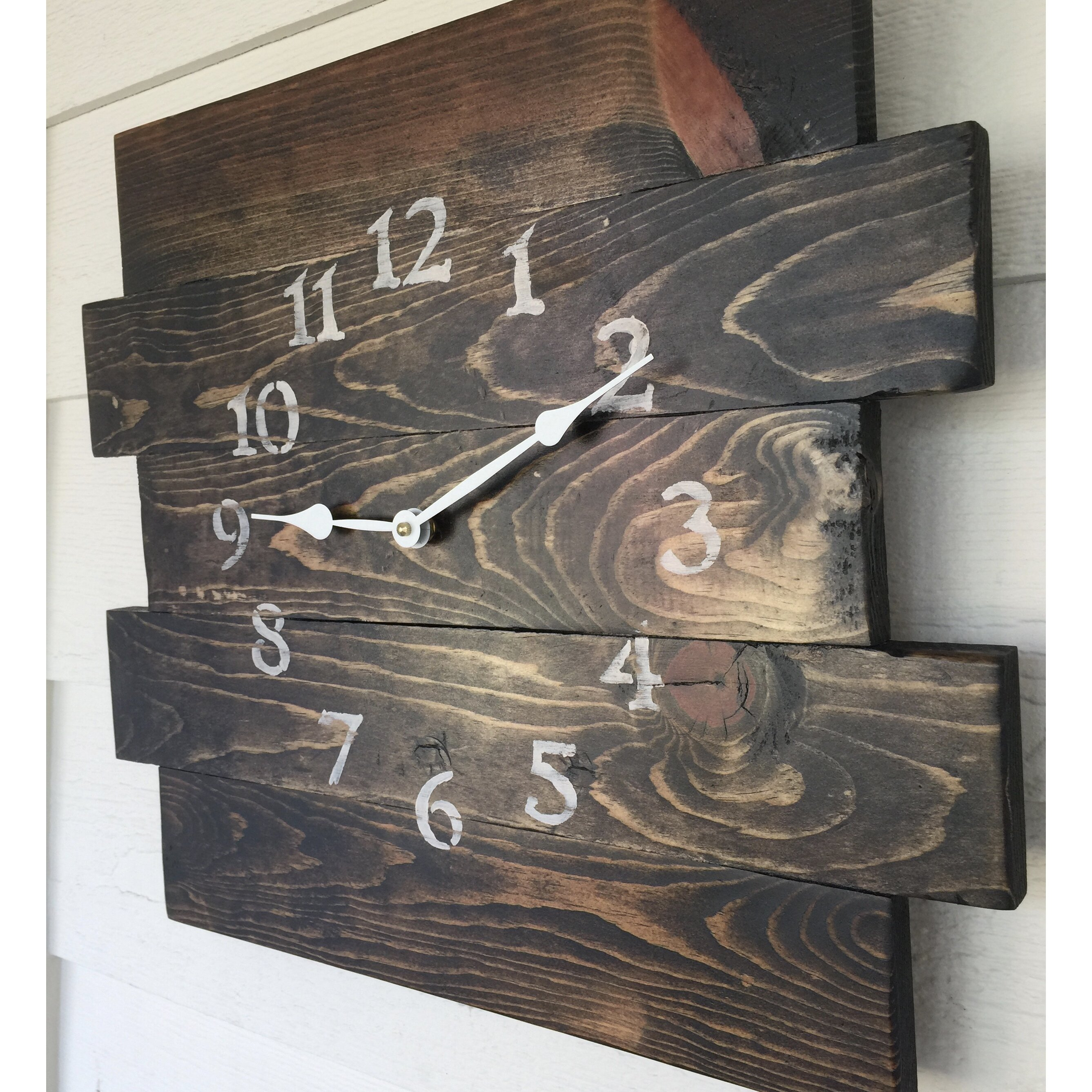 essex crafted wood products oversized canewdon reclaimed style wood wall clock reviews