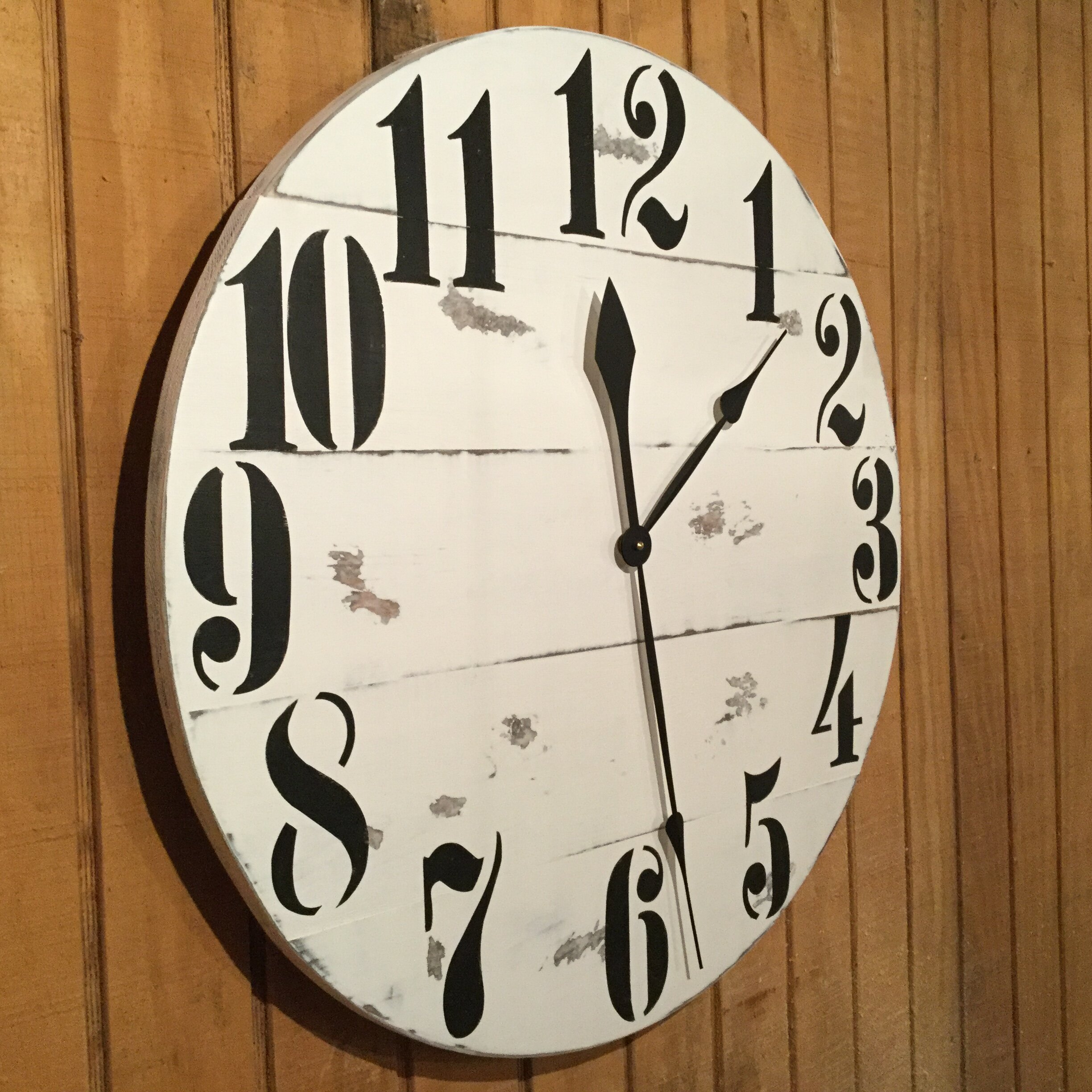 essex crafted wood products oversized 28 quot rayleigh painted wood wall clock wayfair