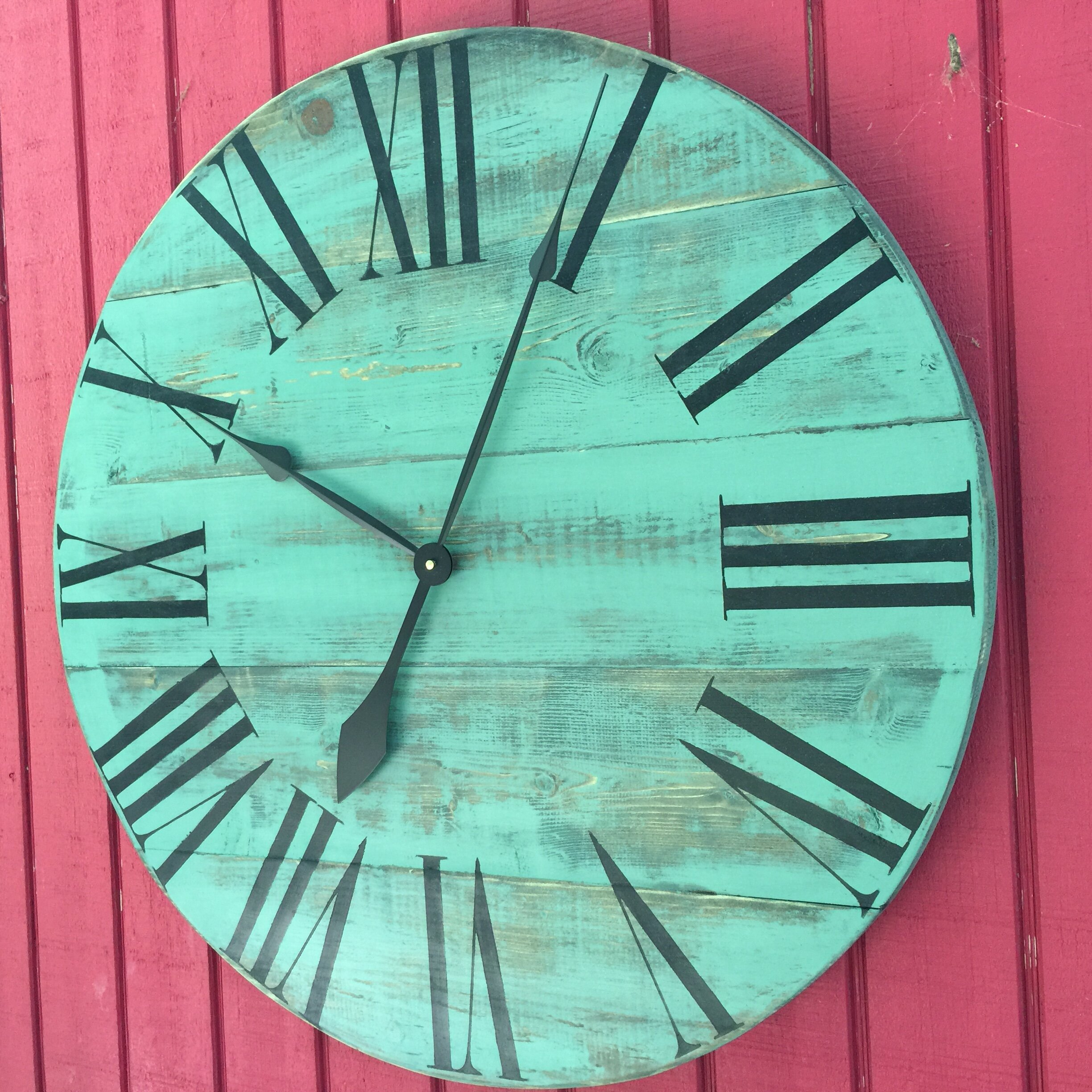 essex crafted wood products oversized 28 quot dudley painted wood wall clock wayfair