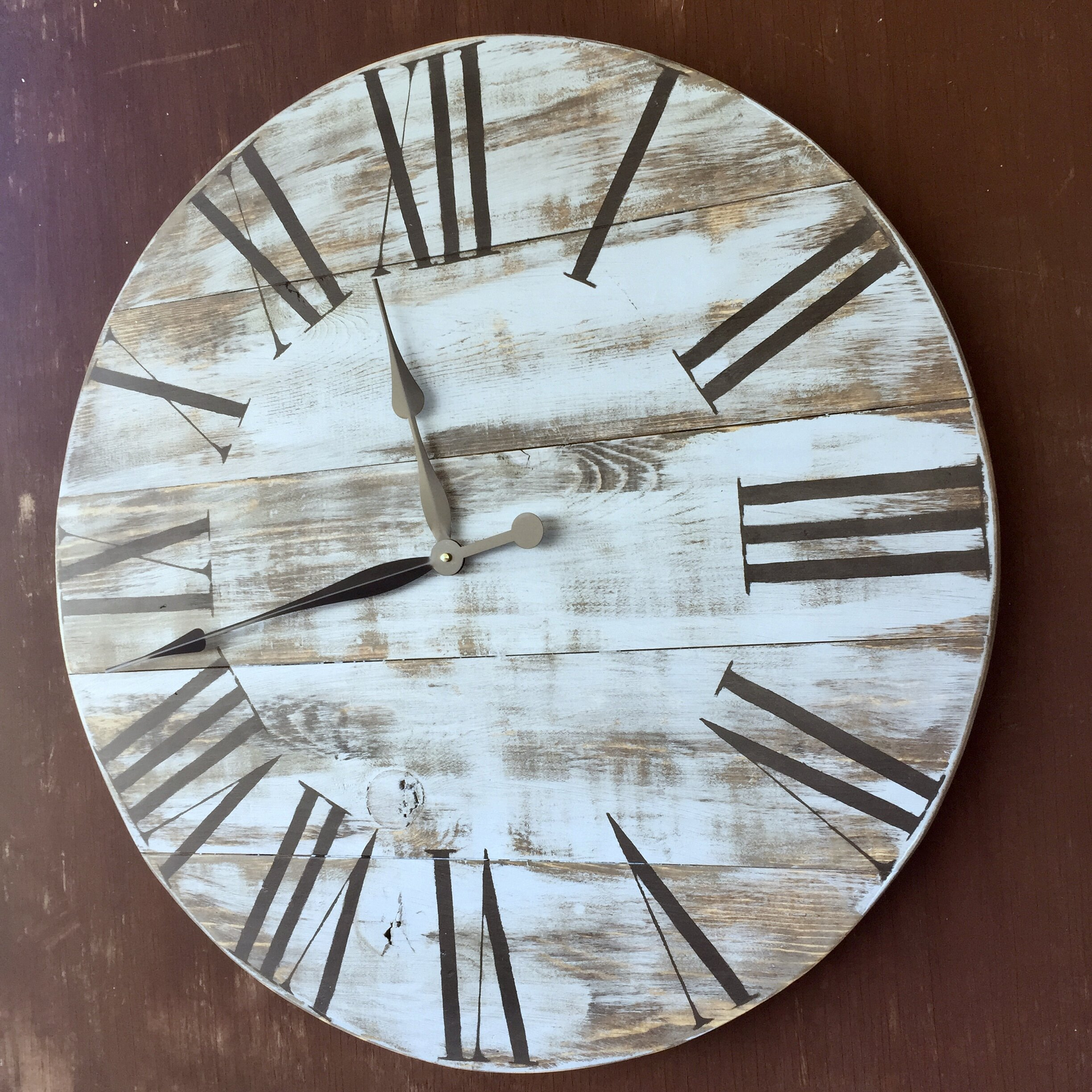 essex crafted wood products oversized 28 quot gregory painted wood wall clock wayfair