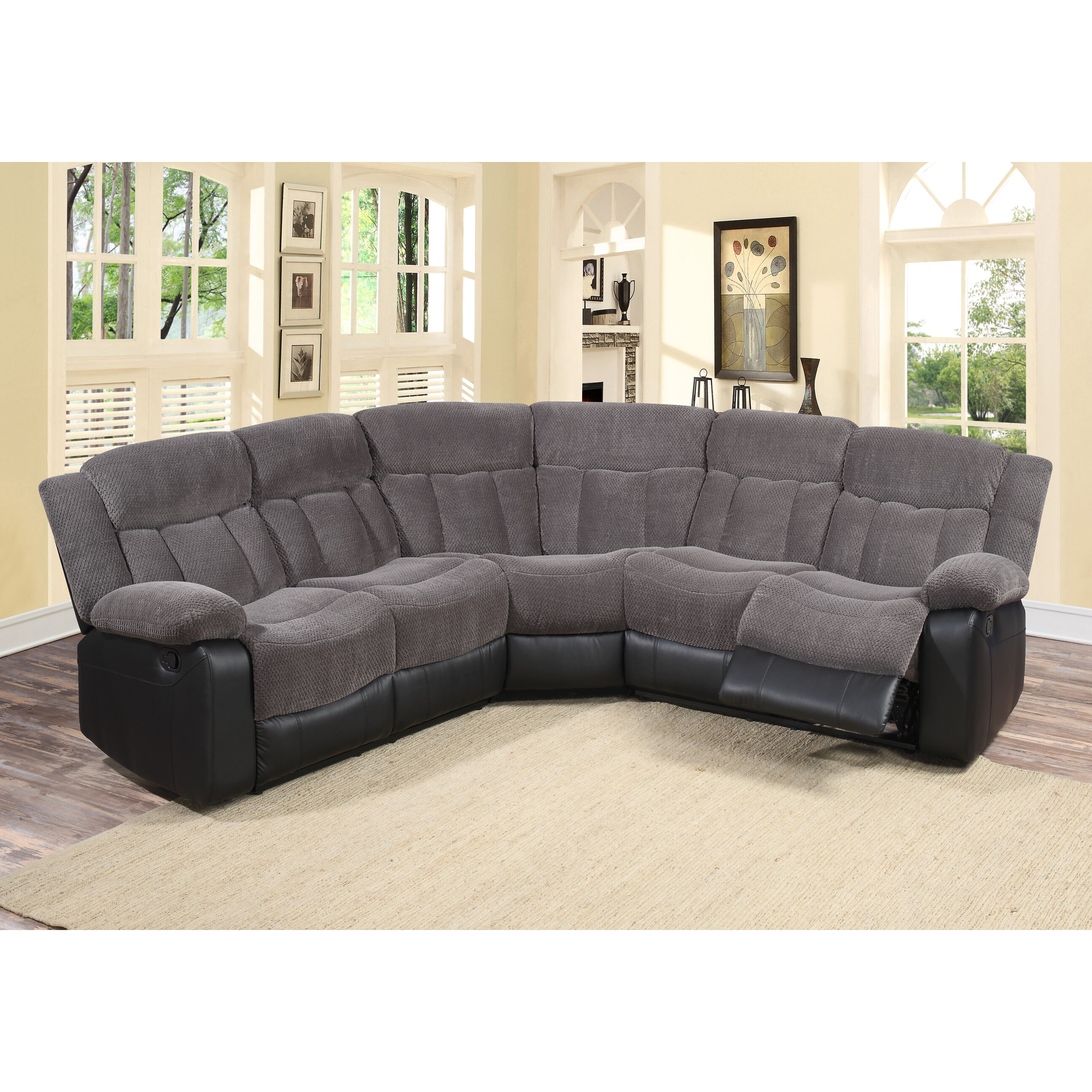 Living in style sectional reviews wayfair for Family room with sectional sofa