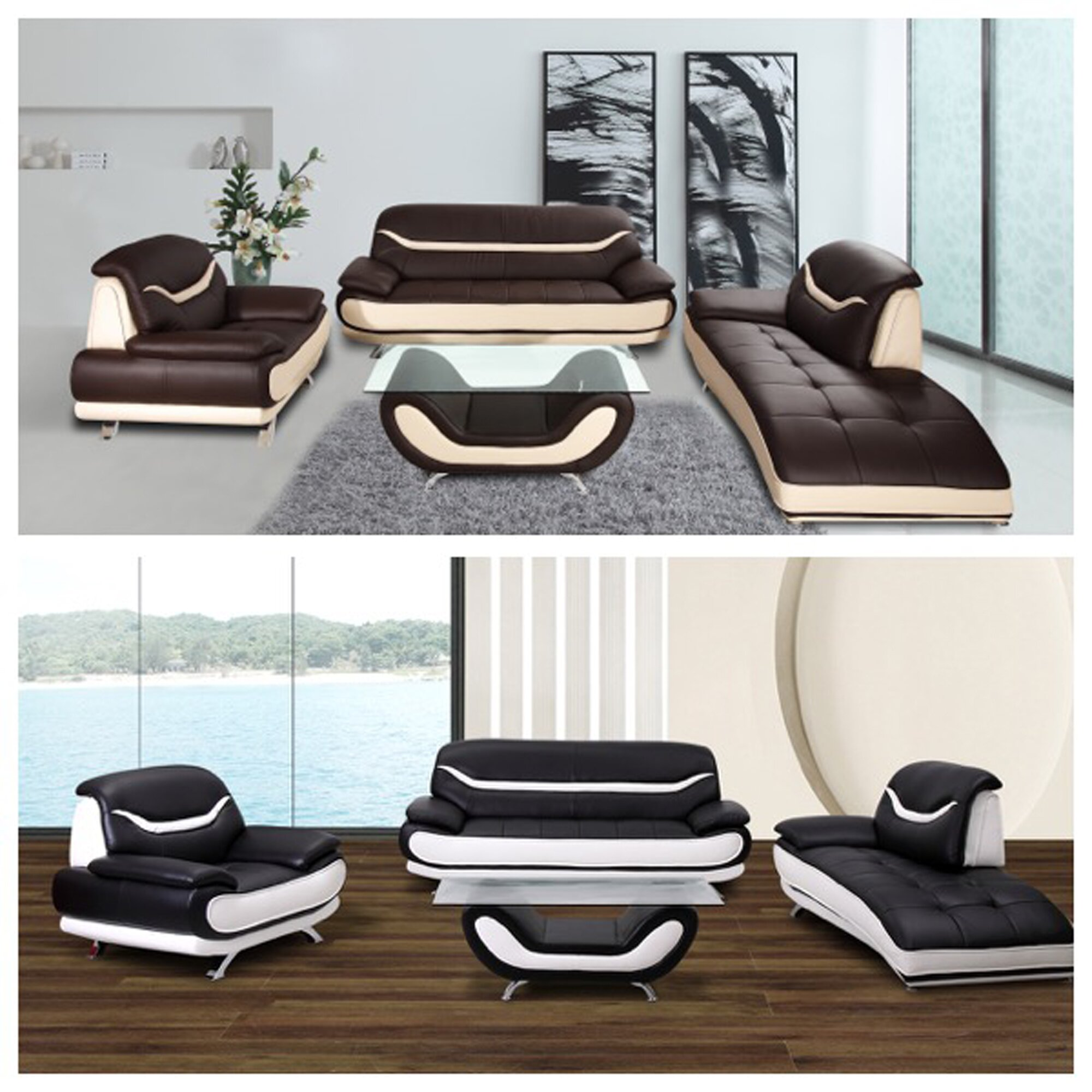 Living In Style Monica 3 Piece Faux Leather Modern Living