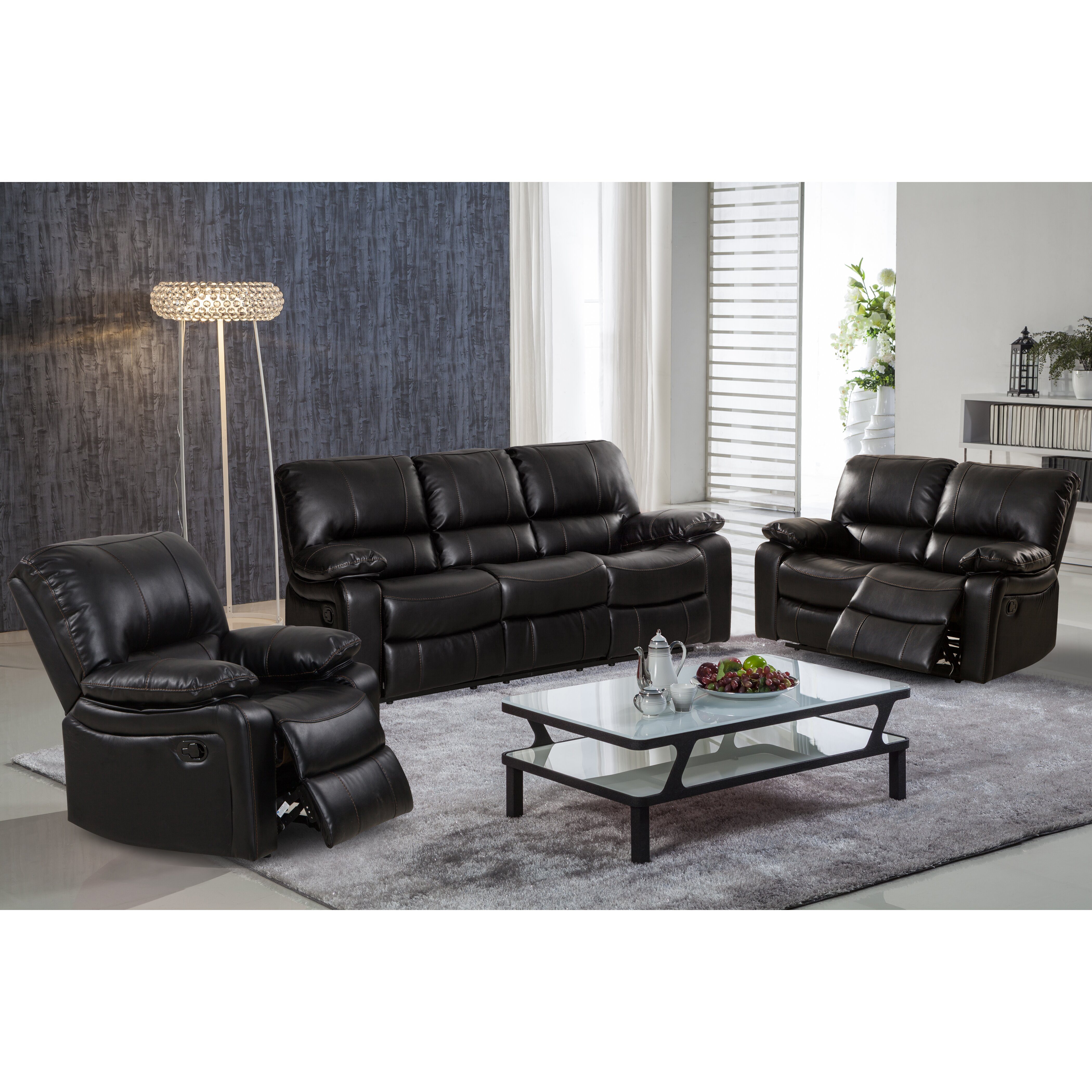 Living in style layla 3 piece leather gel reclining living for 3 piece living room set