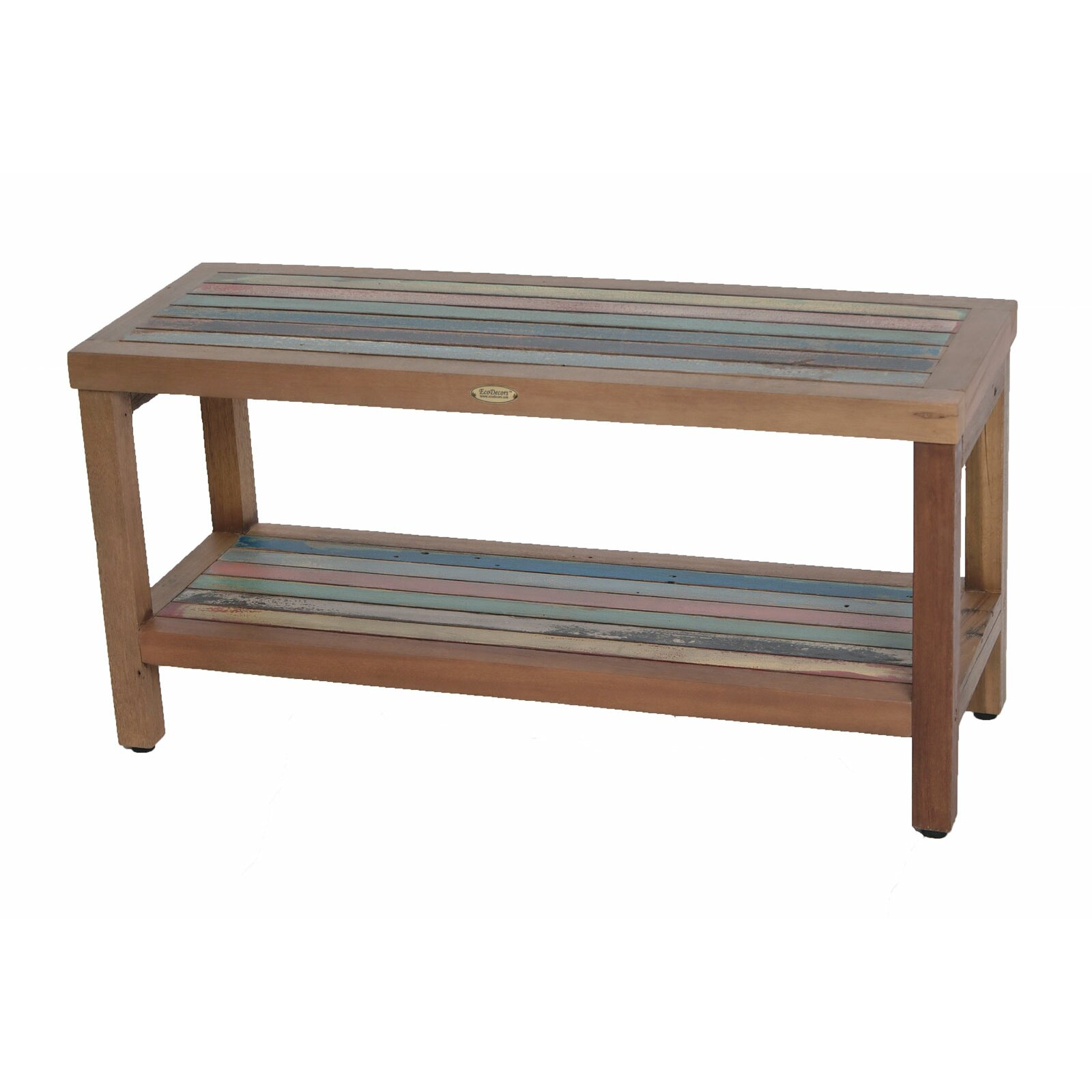 Ecodecors Ship2shape Reclaimed Salvaged Rustic Recycled Boat Bench With Shelf Wayfair